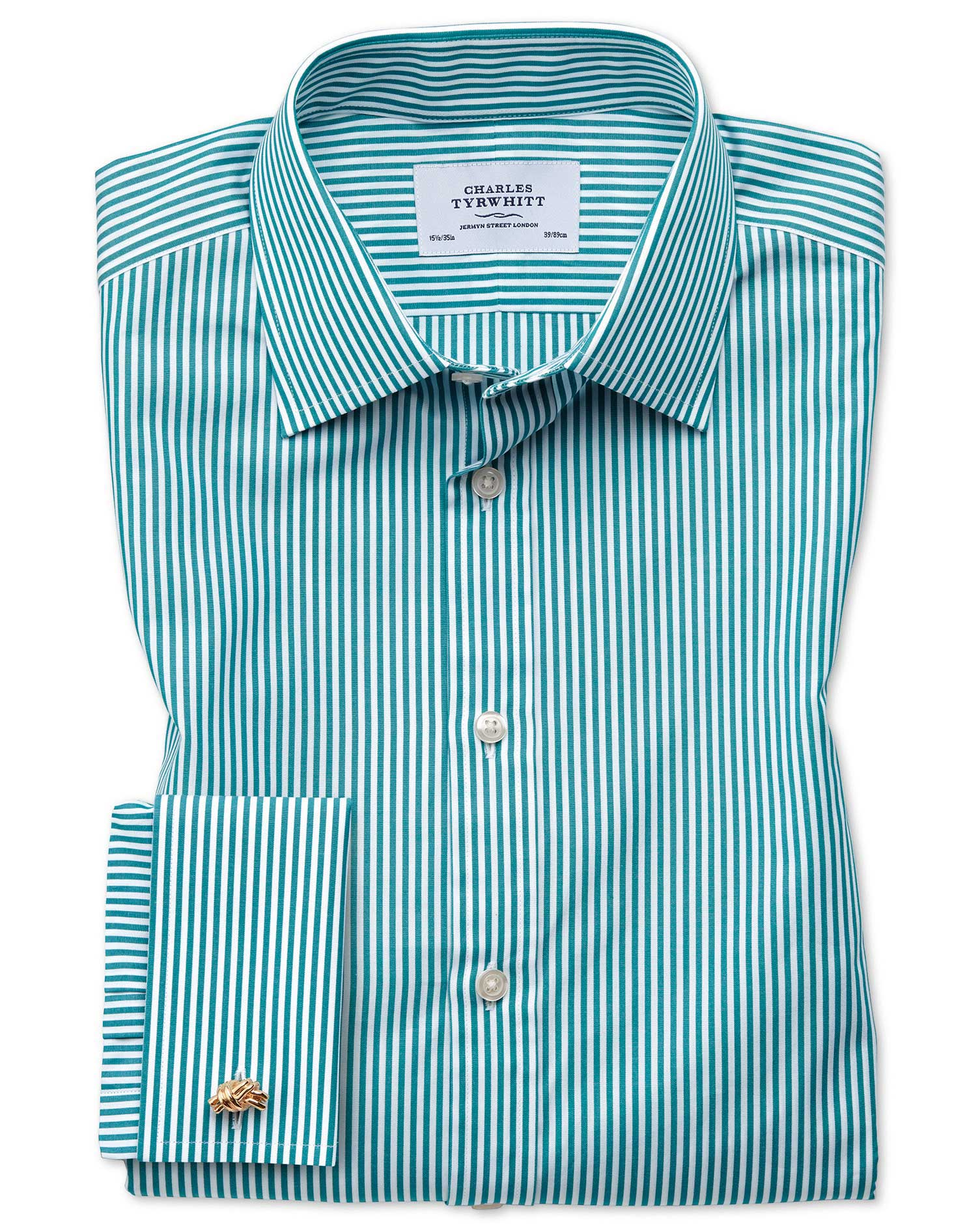 Slim Fit Bengal Stripe Green Cotton Formal Shirt Double Cuff Size 15/34 by Charles Tyrwhitt