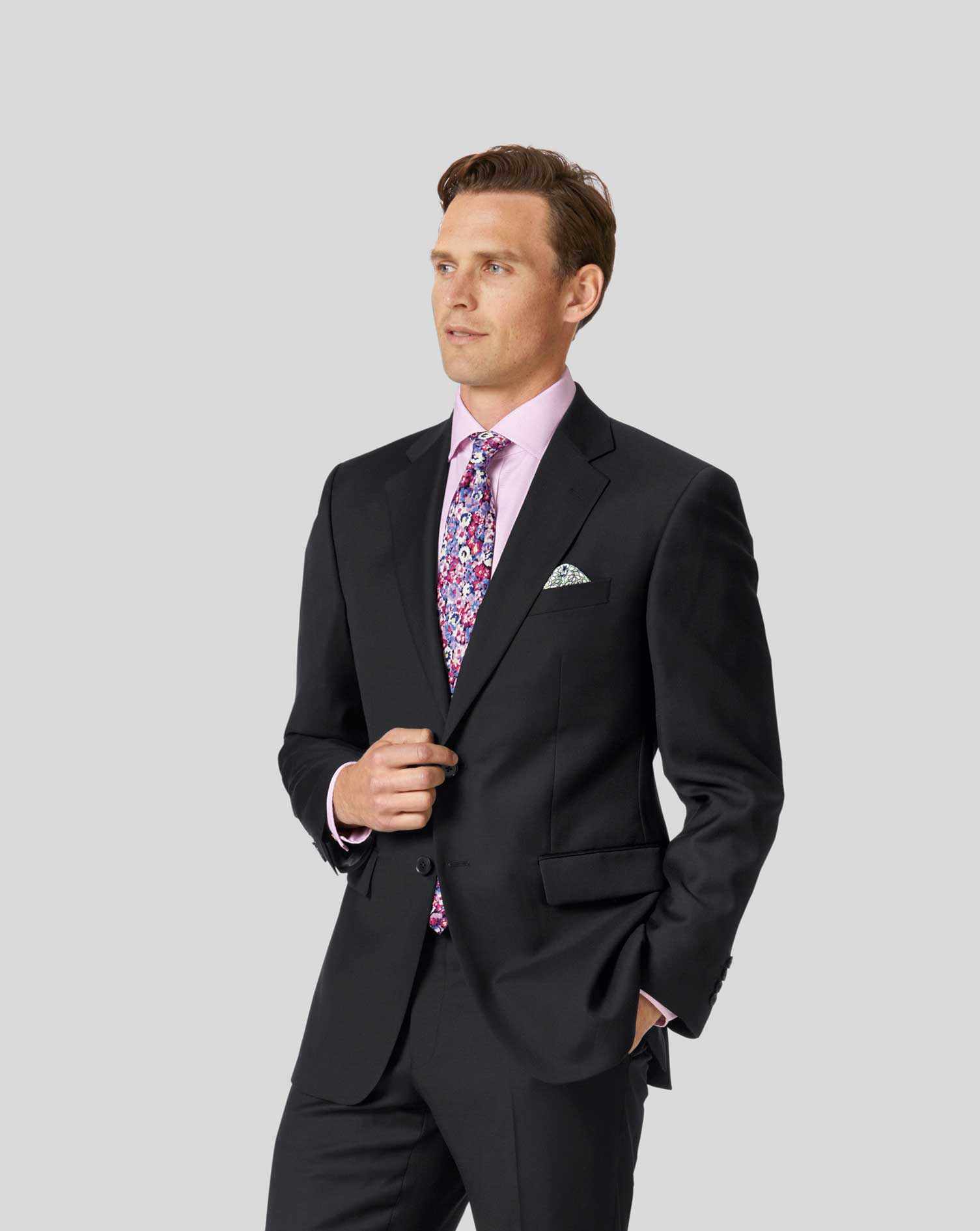 Black classic fit twill business suit jacket