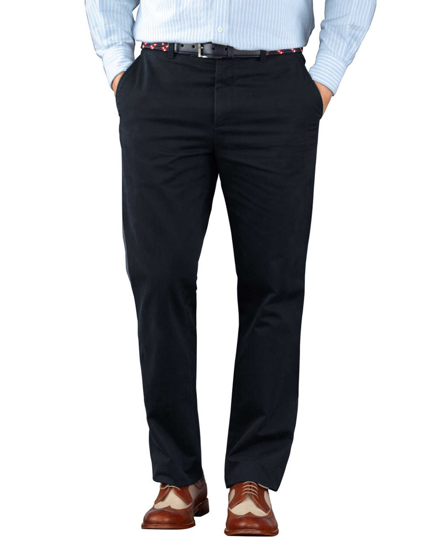 Navy Slim Fit Flat Front Weekend Cotton Chino Trousers Size W34 L30 by Charles Tyrwhitt