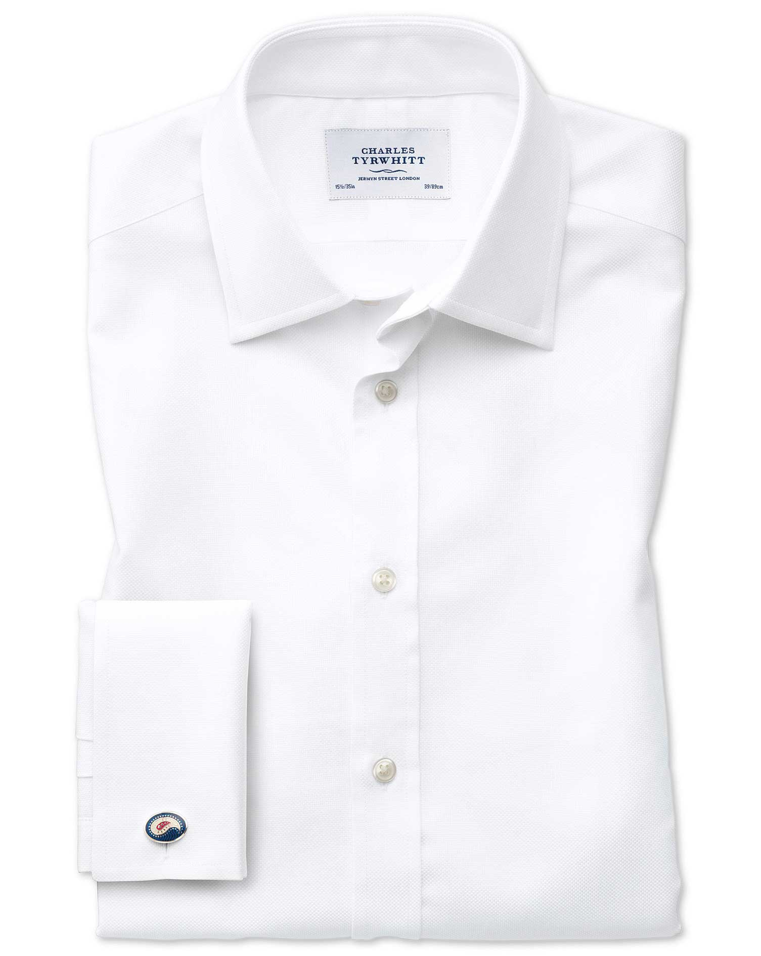 Extra Slim Fit Egyptian Cotton Royal Oxford White Formal Shirt Single Cuff Size 16.5/34 by Charles T