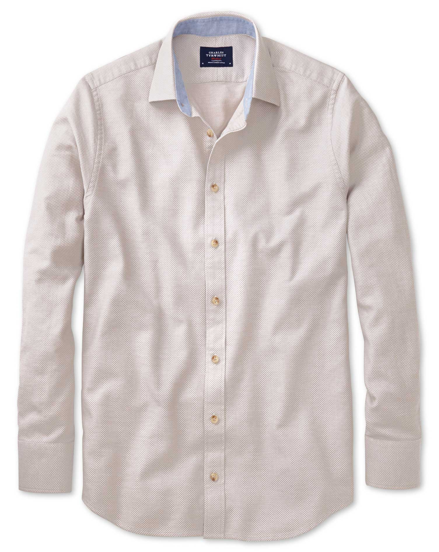Classic Fit Stone Washed Textured Cotton Shirt Single Cuff Size Small by Charles Tyrwhitt