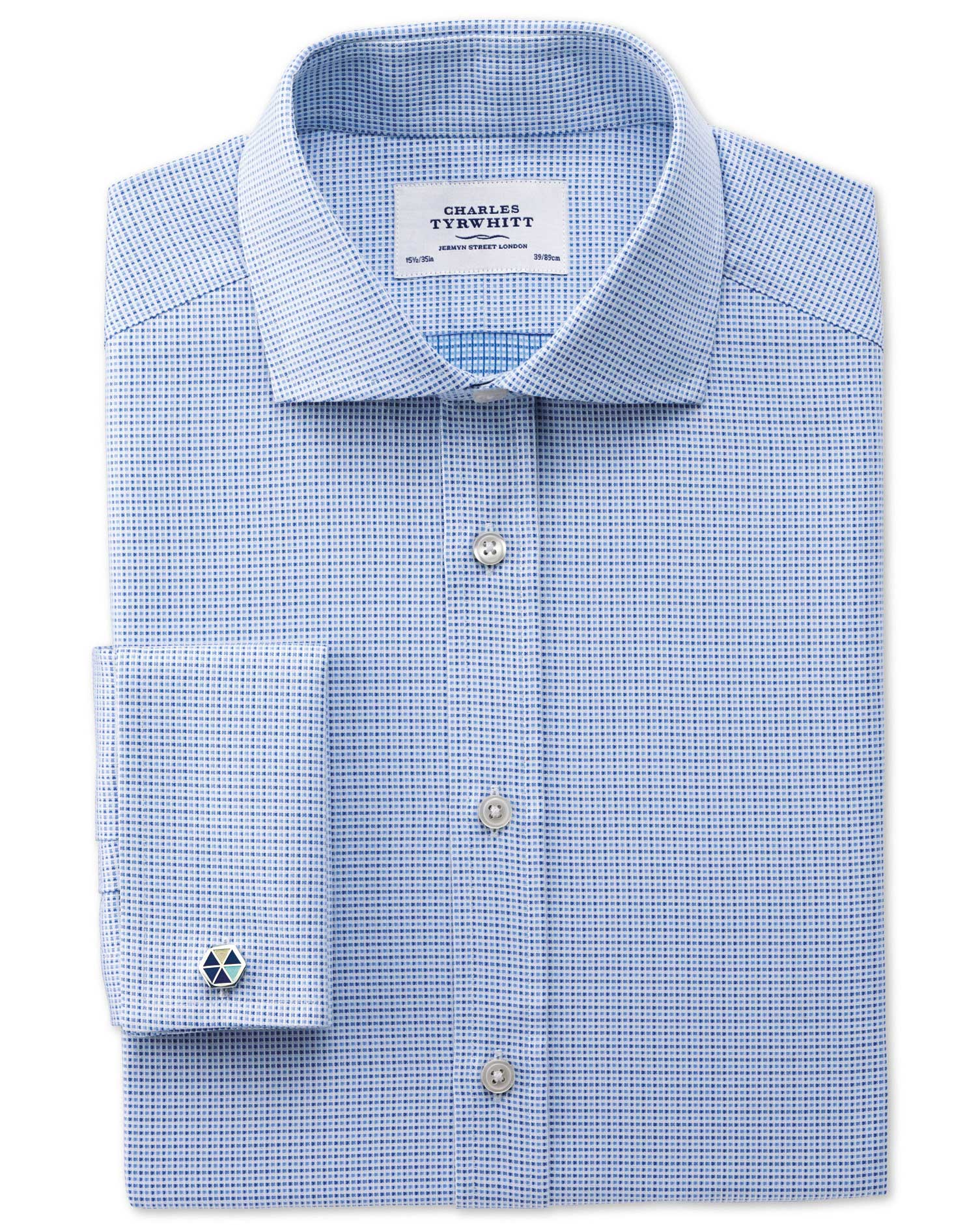 Extra Slim Fit Cutaway Collar Egyptian Cotton Textured Blue Formal Shirt Single Cuff Size 16/33 by C