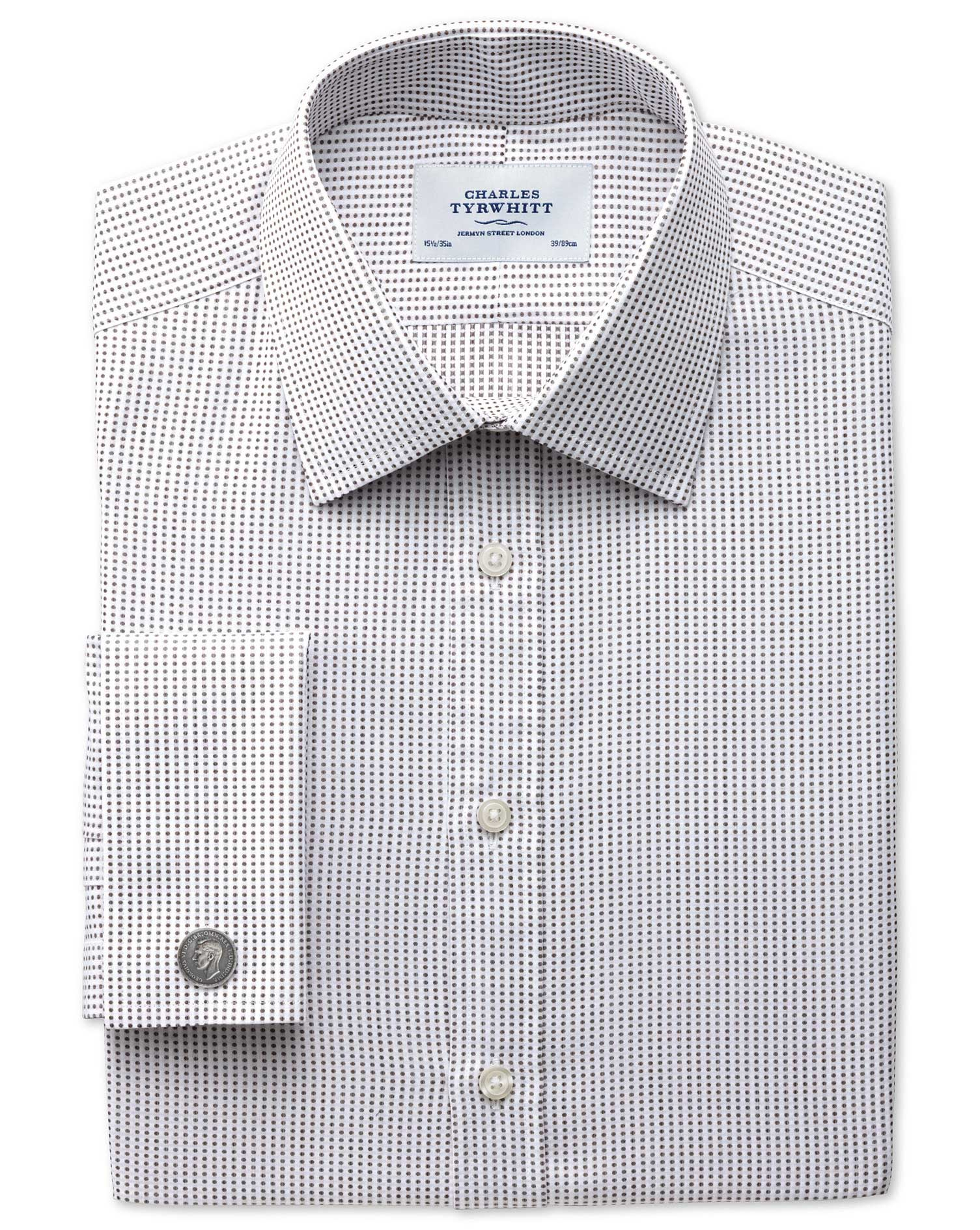 Slim Fit Pima Cotton Double-Faced Brown Formal Shirt Double Cuff Size 16/36 by Charles Tyrwhitt