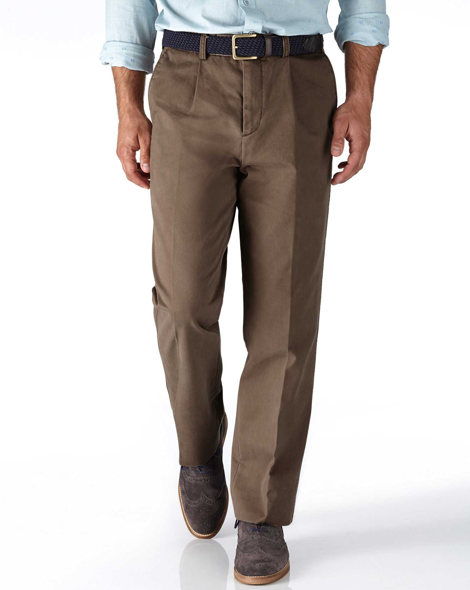 Light Brown Classic Fit Single Pleat Cotton Chino Trousers Size W44 L38 by Charles Tyrwhitt