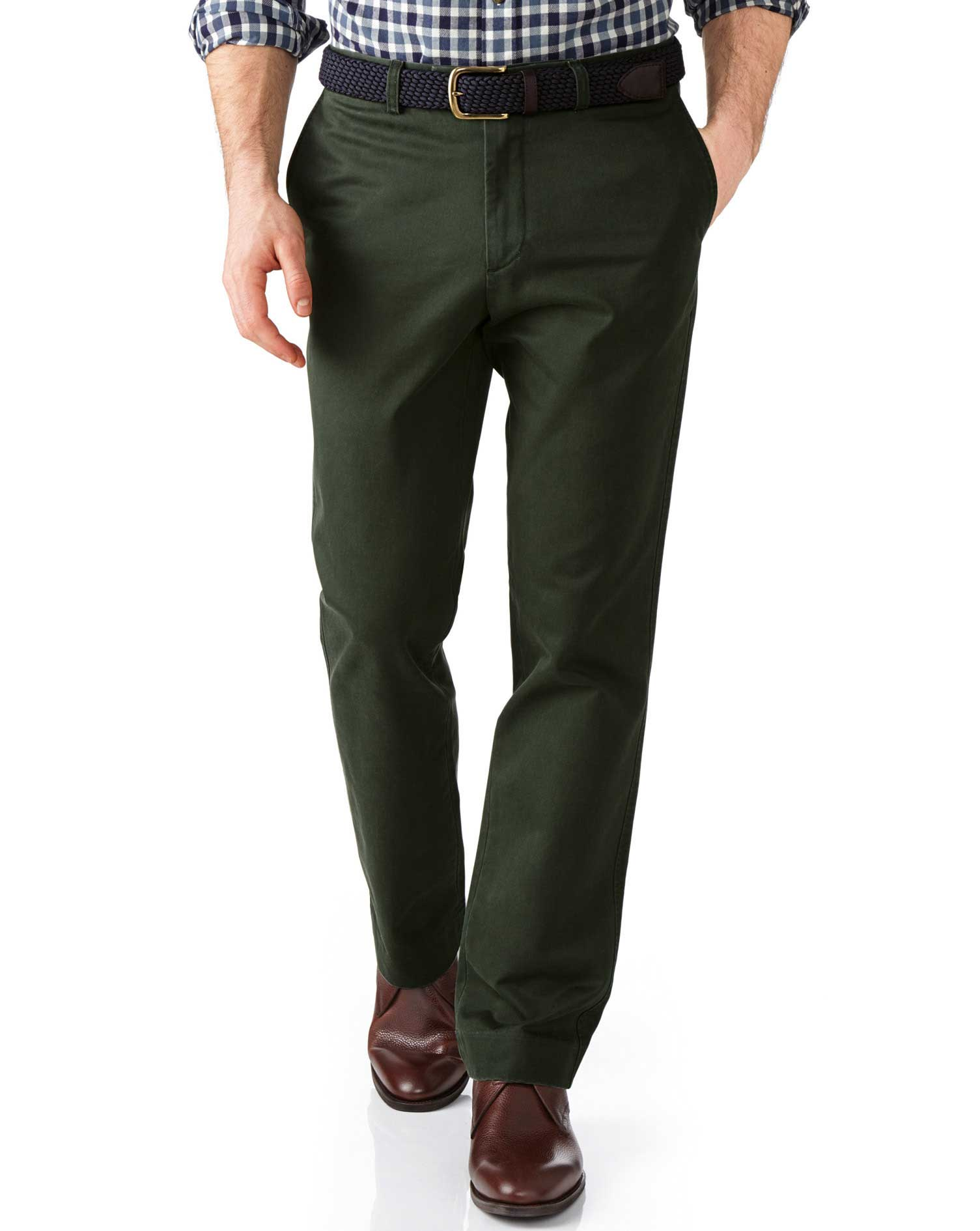 Dark Green Slim Fit Flat Front Weekend Cotton Chino Trousers Size W36 L34 by Charles Tyrwhitt