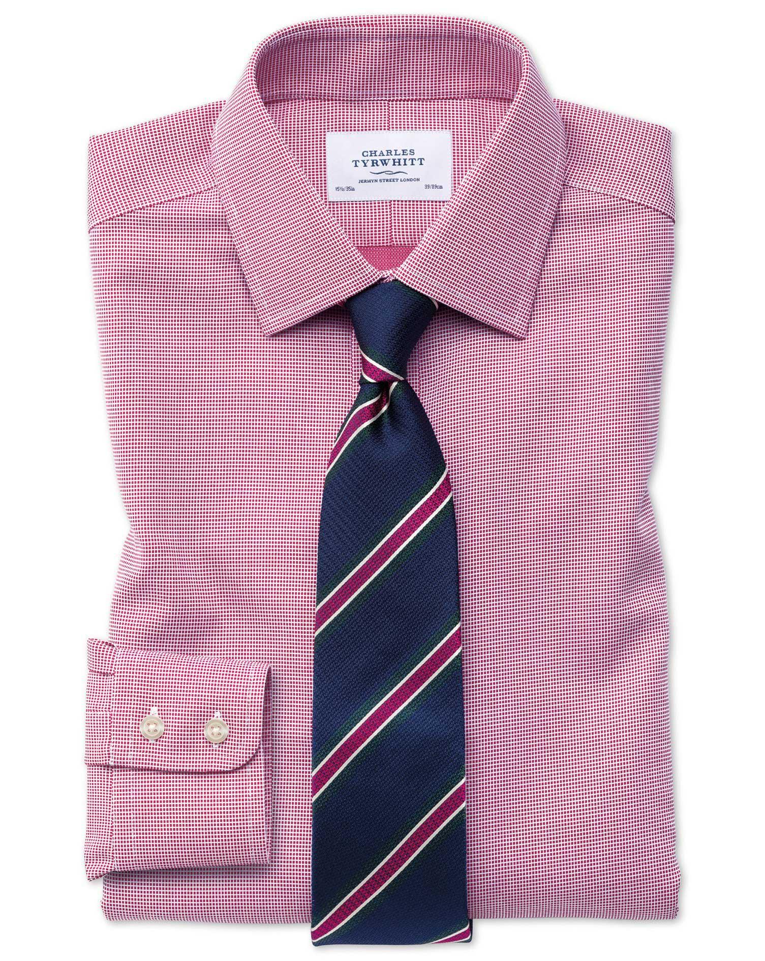 Slim Fit Non Iron Square Weave Magenta Shirt Charles