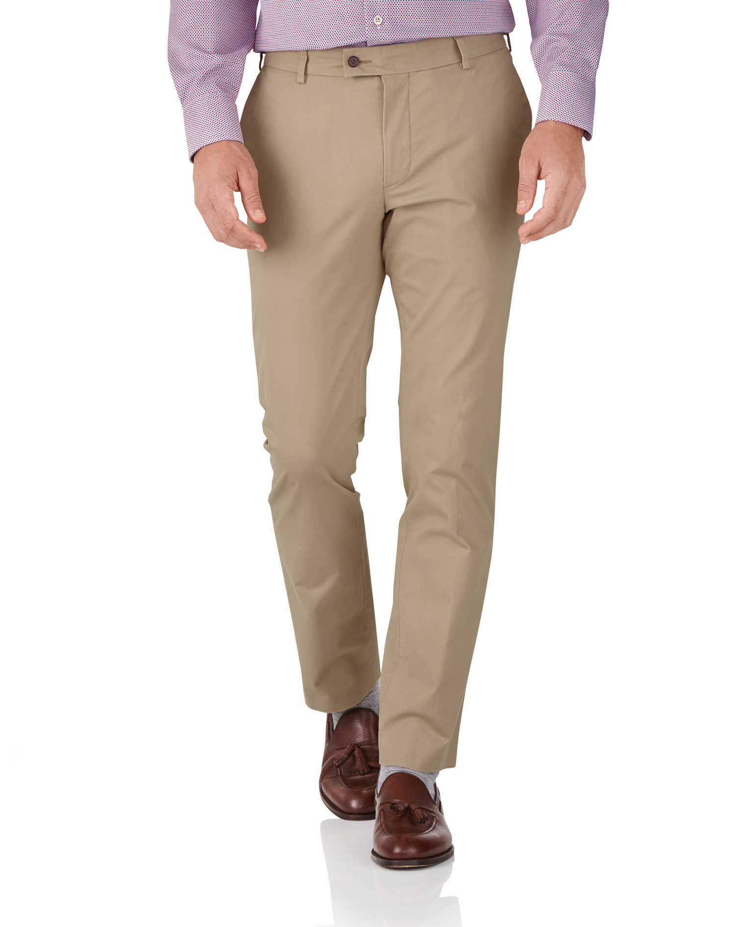 Tan Slim Fit Stretch Cotton Chino Trousers Size W34 L32 by Charles Tyrwhitt