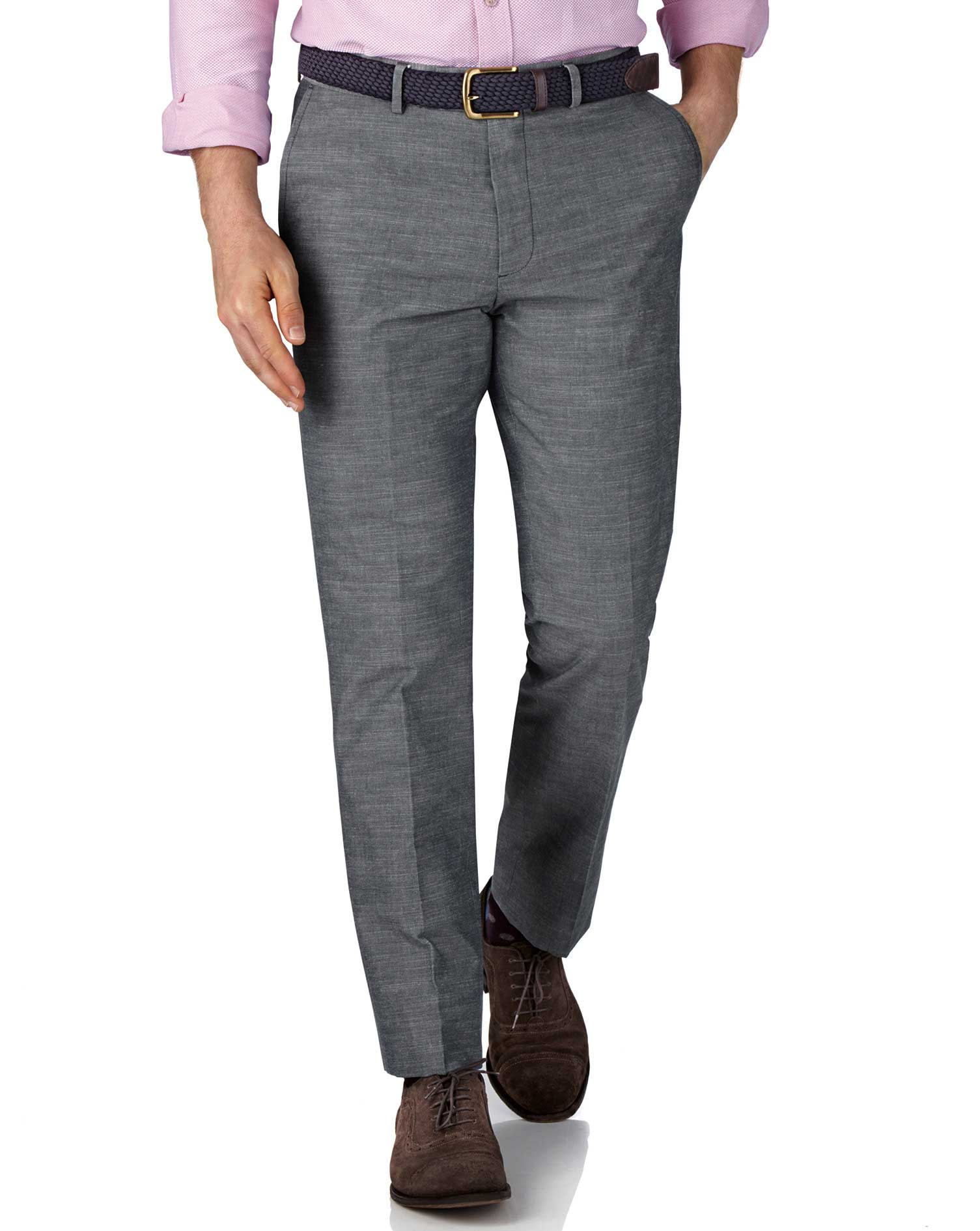 Blue Chambray Slim Fit Trousers Size W42 L30 by Charles Tyrwhitt