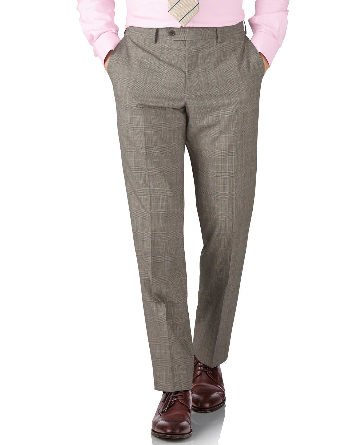 Grey Prince of Wales check classic fit Panama business suit trouser