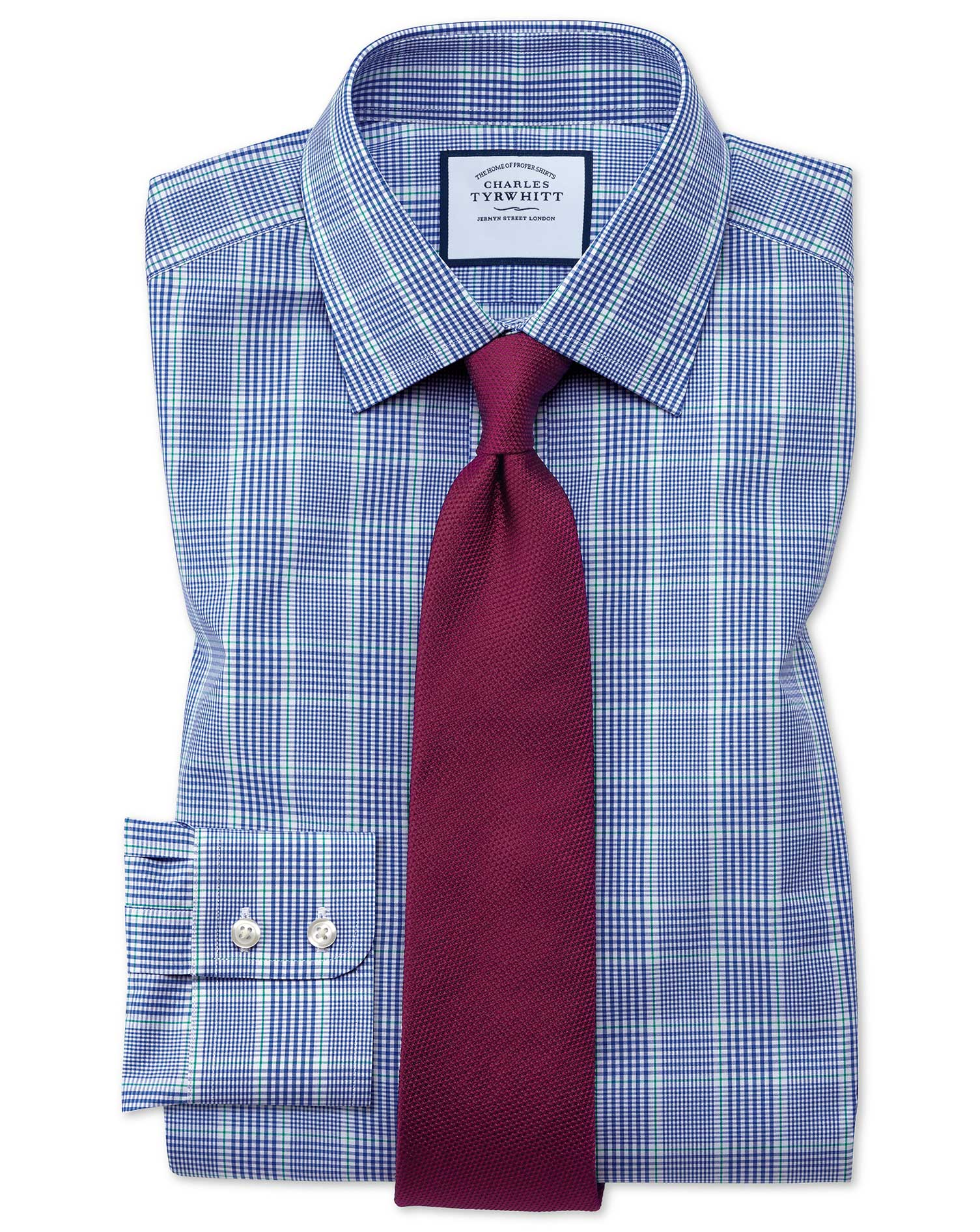 Slim Fit Prince Of Wales Blue and Green Cotton Formal Shirt Single Cuff Size 17/33 by Charles Tyrwhi