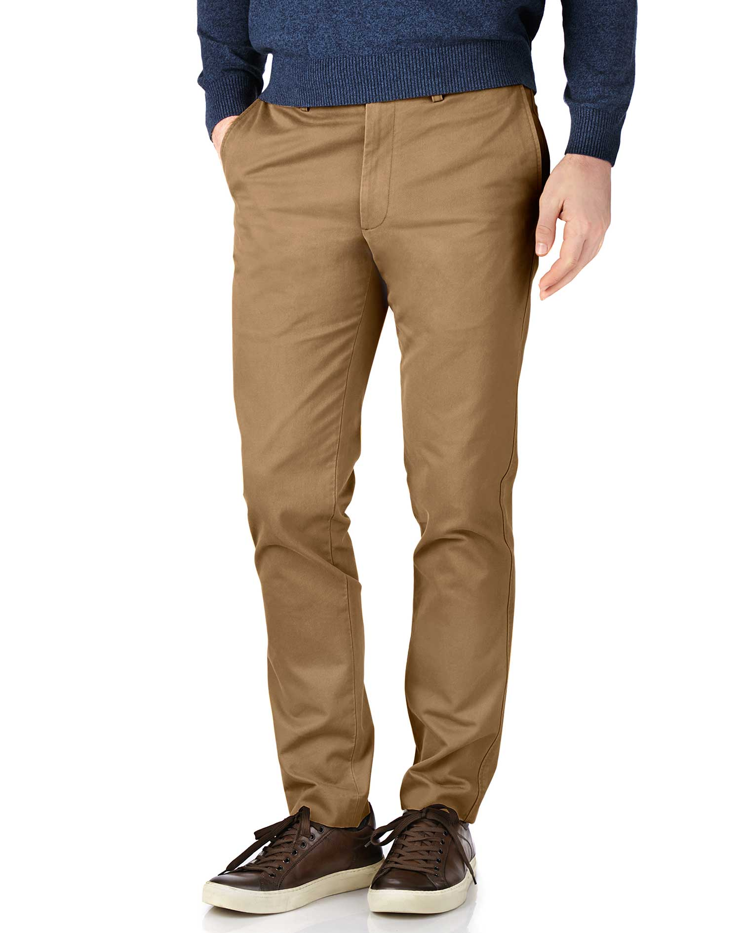 Tan Extra Slim Fit Flat Front Cotton Chino Trousers Size W36 L30 by Charles Tyrwhitt