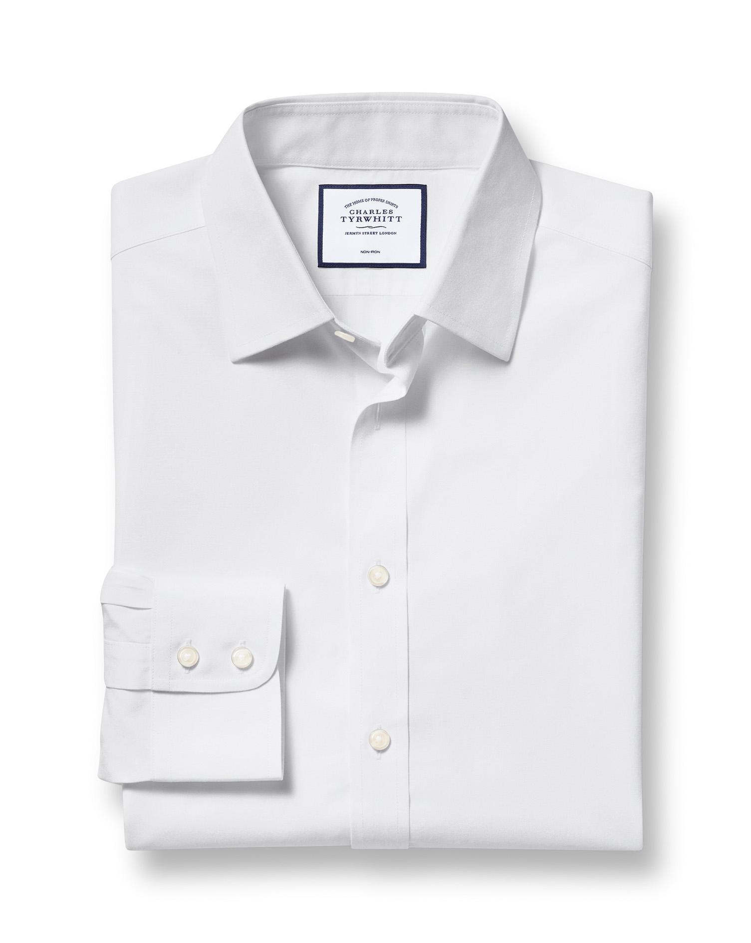 Extra Slim Fit Non-Iron Poplin White Cotton Formal Shirt Single Cuff Size 17/35 by Charles Tyrwhitt