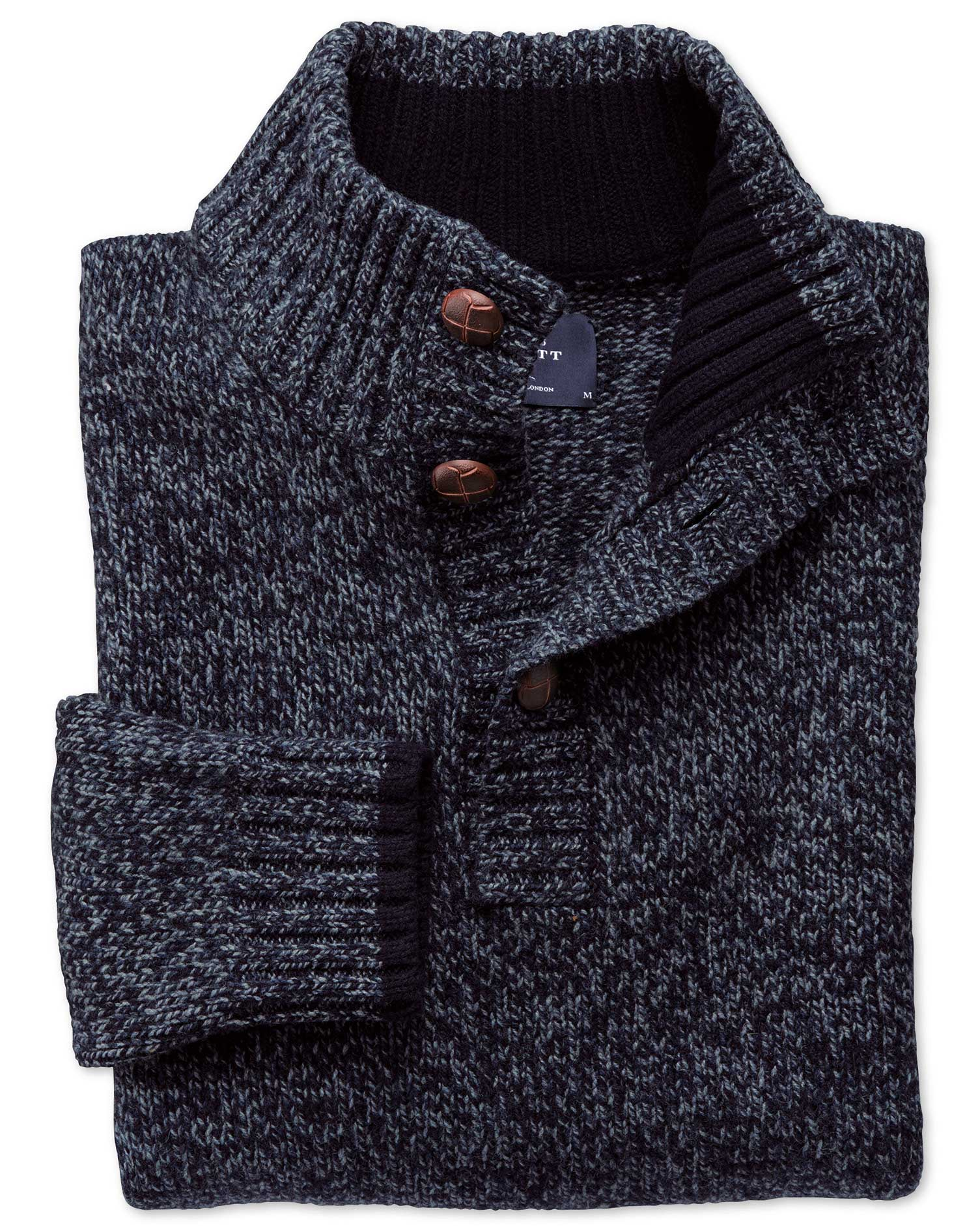 Navy Mouline Button Neck Wool Jumper Size Large by Charles Tyrwhitt
