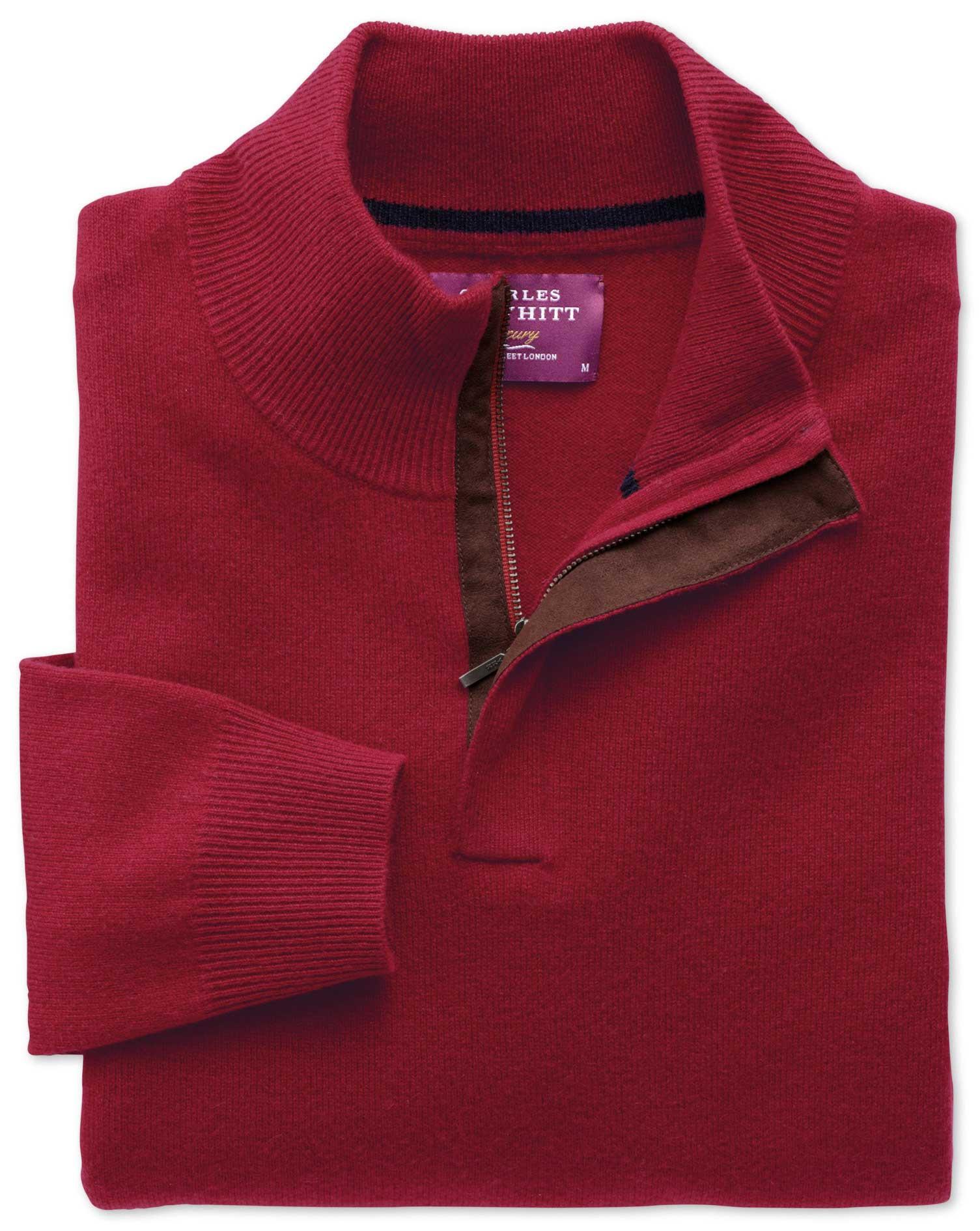 Red Cashmere Zip-Neck Jumper Size XXL by Charles Tyrwhitt