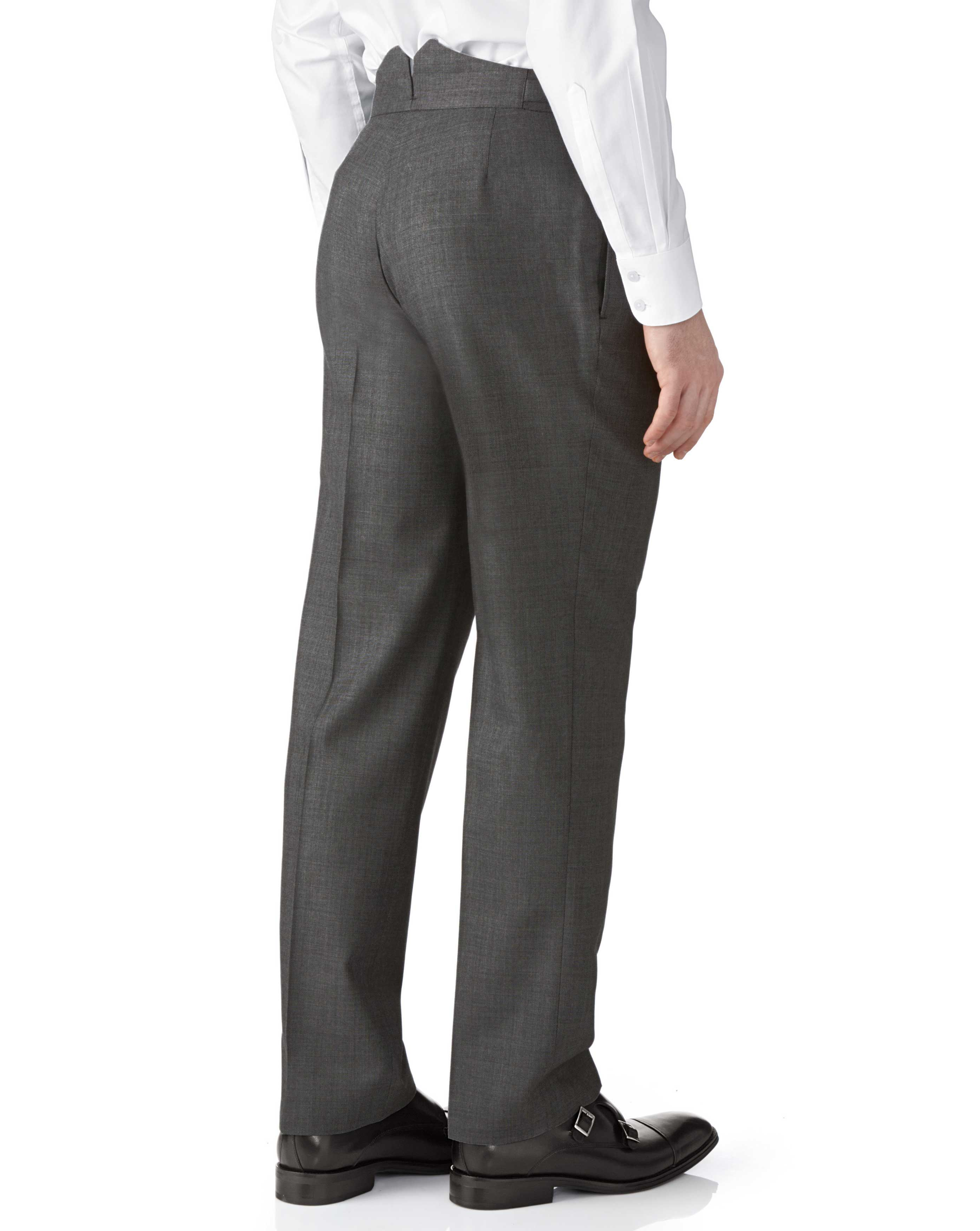 Dark grey classic fit morning suit pants