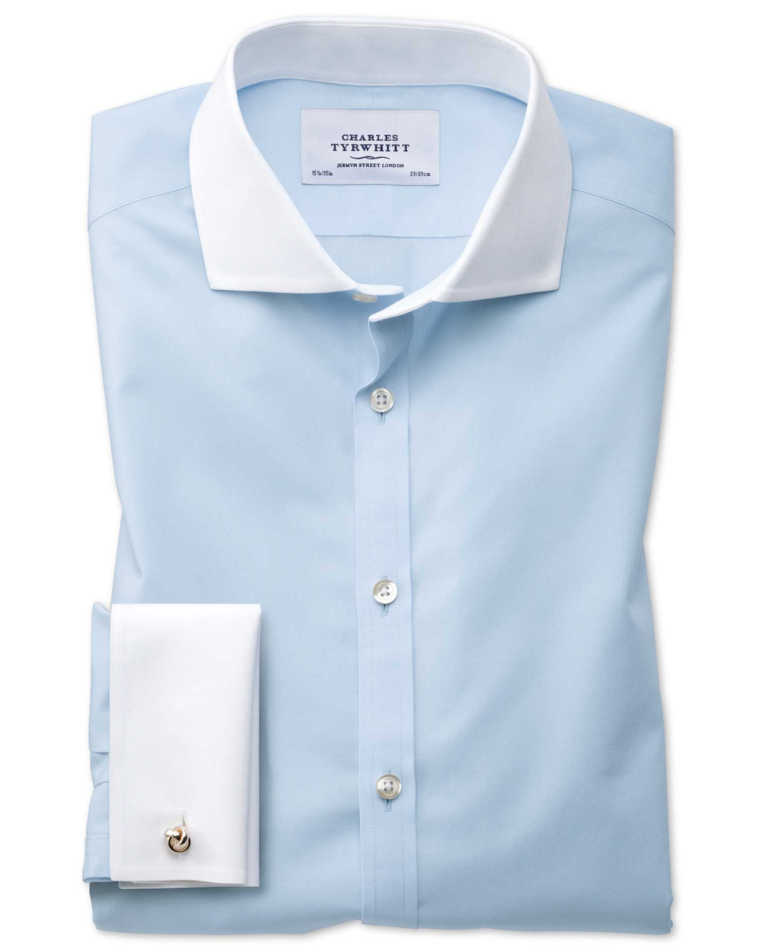 Slim Fit Cutaway Non-Iron Winchester Sky Blue Cotton Formal Shirt Single Cuff Size 17/37 by Charles