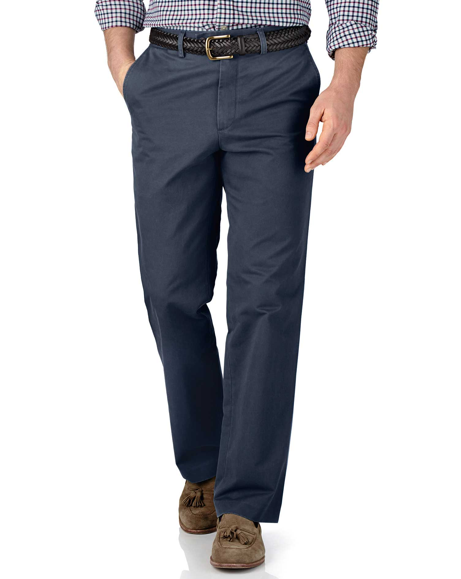 Airforce Blue Classic Fit Flat Front Cotton Chino Trousers Size W32 L29 by Charles Tyrwhitt