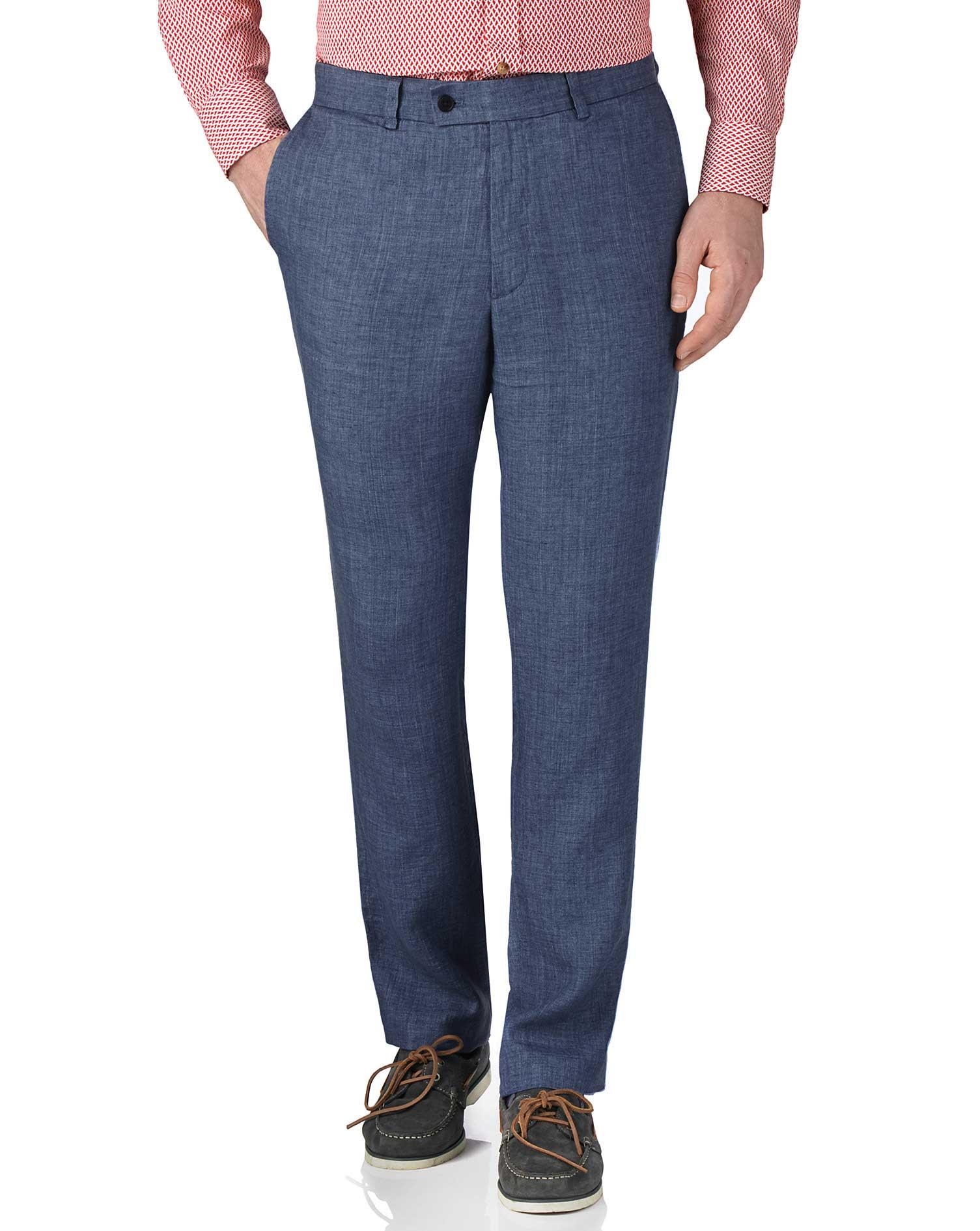 Blue Slim Fit Linen Trousers Size W38 L32 by Charles Tyrwhitt