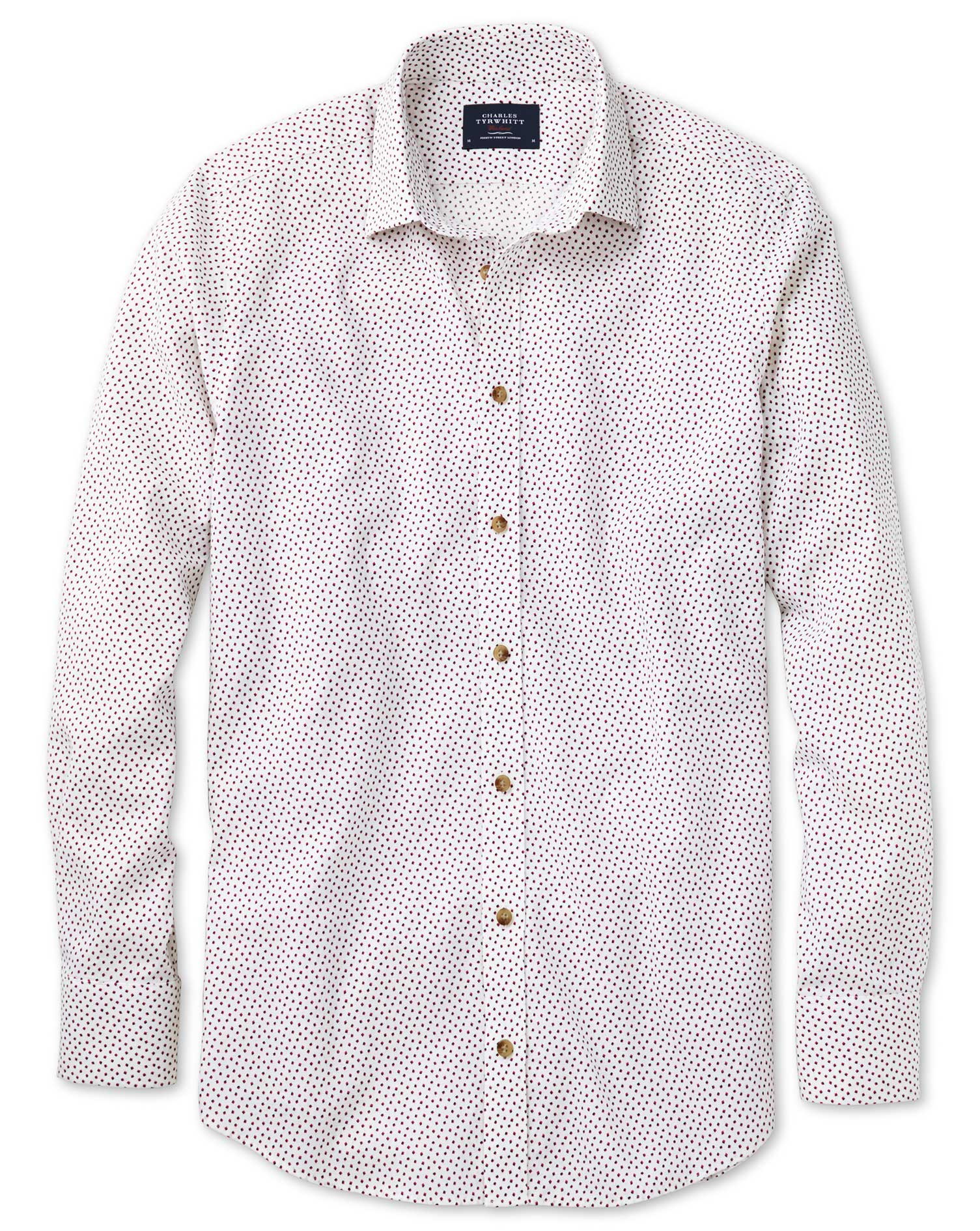 Slim Fit White and Pink Square Print Shirt Single Cuff Size XS by Charles Tyrwhitt