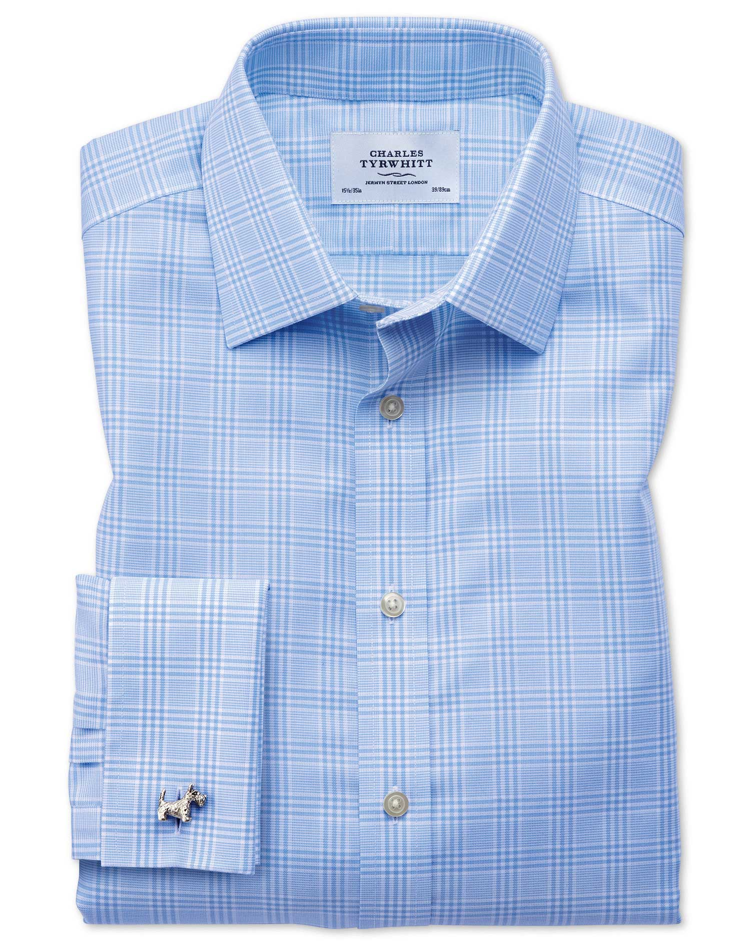 Classic Fit Non-Iron Prince Of Wales Sky Blue Cotton Formal Shirt Double Cuff Size 17.5/34 by Charle