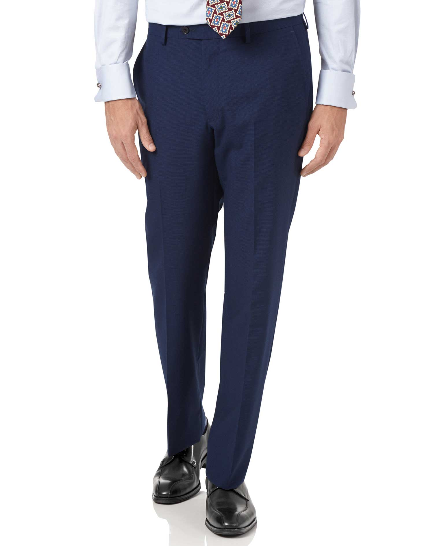 Indigo Blue Slim Fit Panama Puppytooth Business Suit Trouser Size W34 L38 by Charles Tyrwhitt