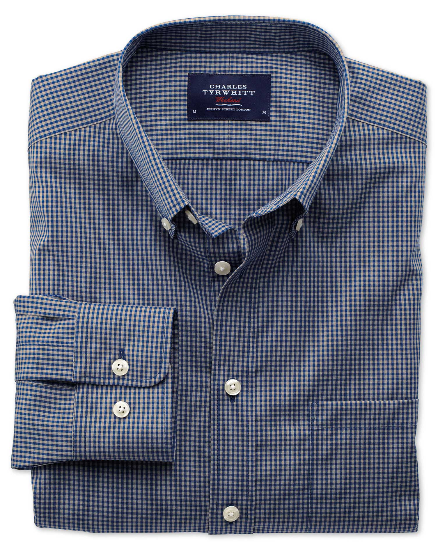 Slim Fit Non-Iron Poplin Blue and Grey Check Cotton Shirt Single Cuff Size XS by Charles Tyrwhitt