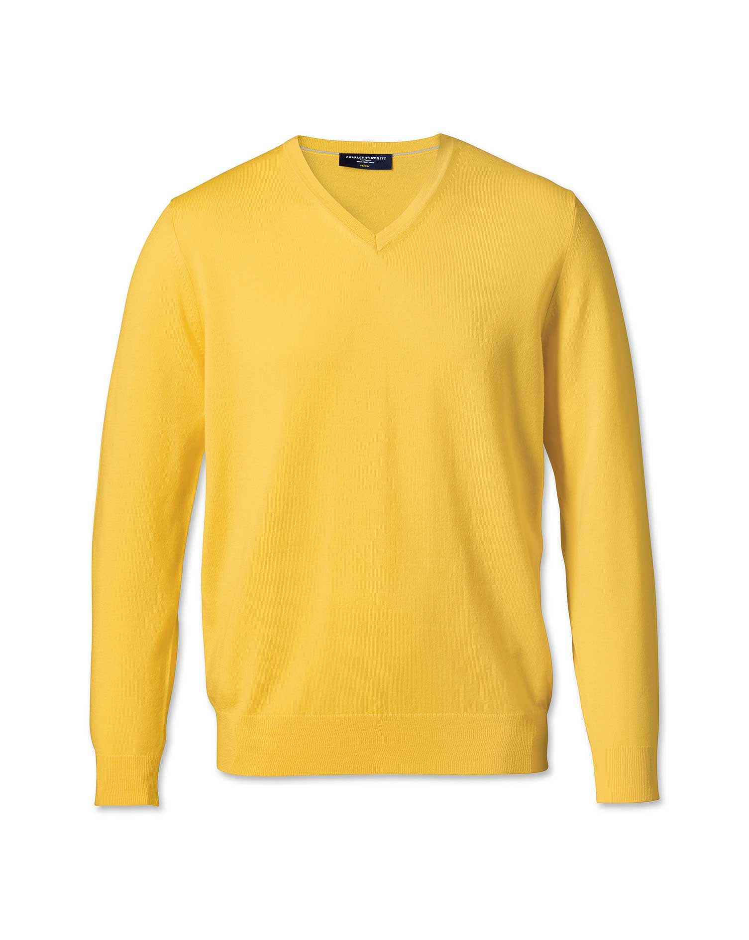 Yellow merino wool v-neck sweater | Charles Tyrwhitt