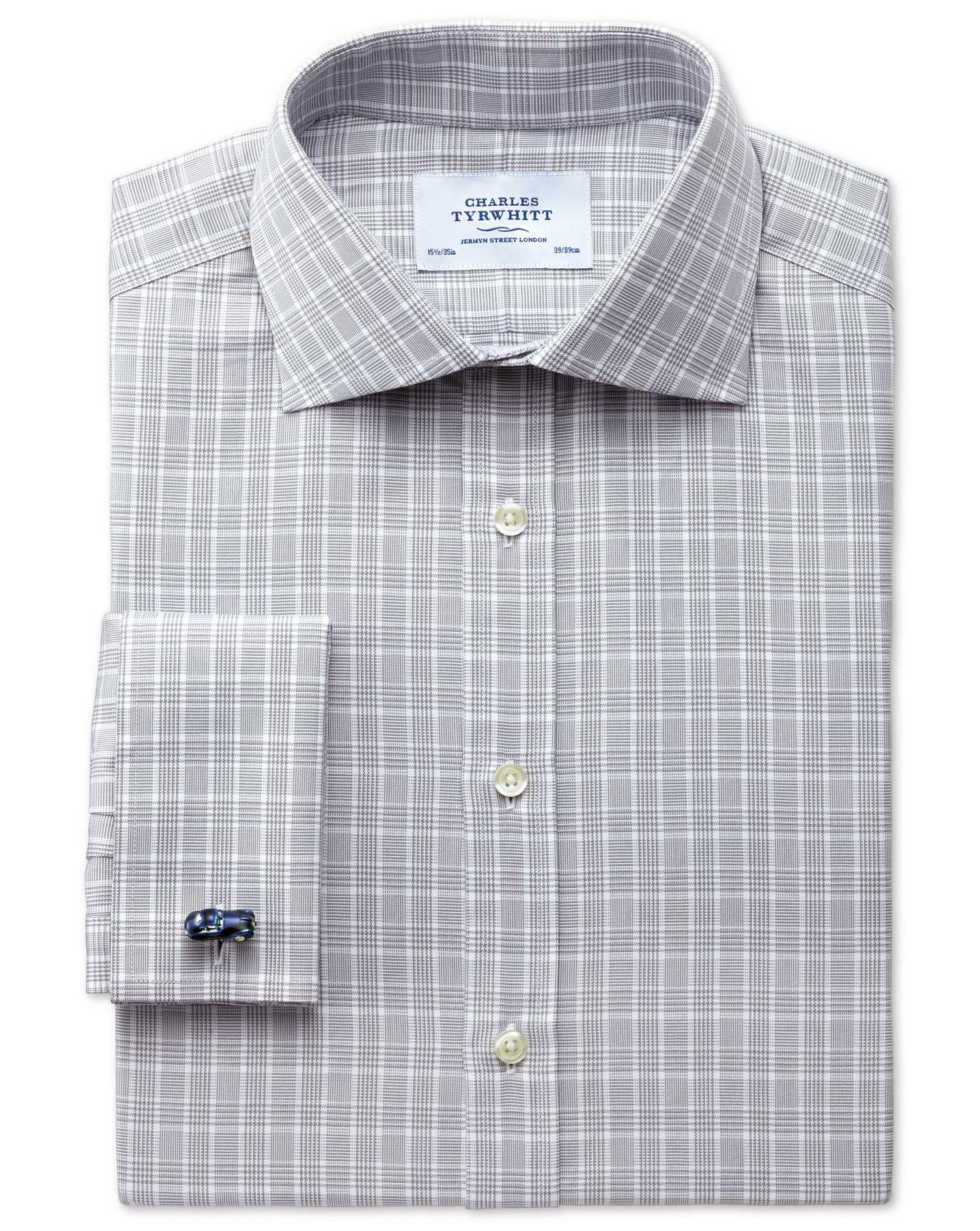 Classic Fit Prince Of Wales Silver Cotton Formal Shirt Double Cuff Size 15/34 by Charles Tyrwhitt