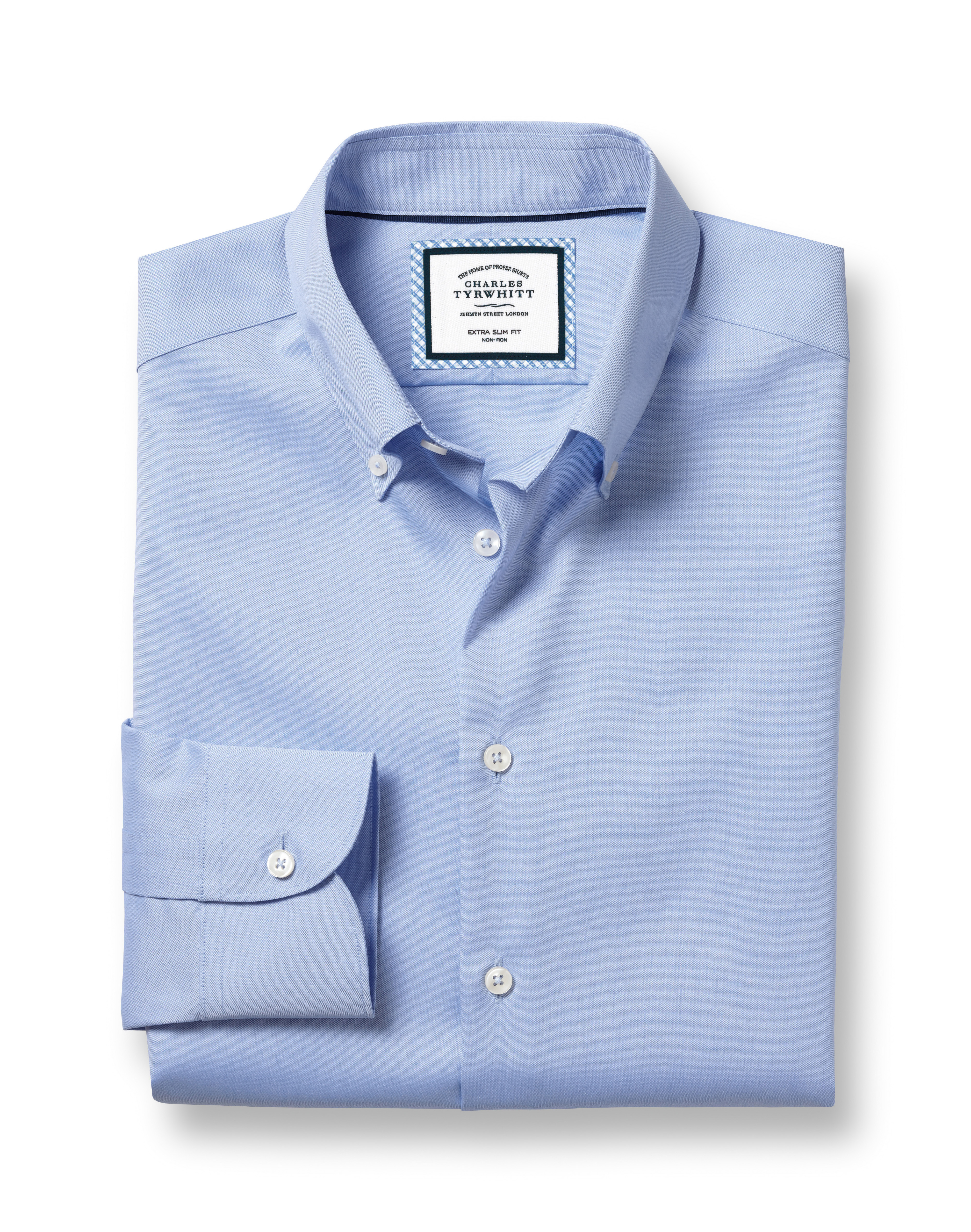 Slim Fit Button-Down Business Casual Non-Iron Sky Blue Cotton Formal Shirt Single Cuff Size 17.5/34