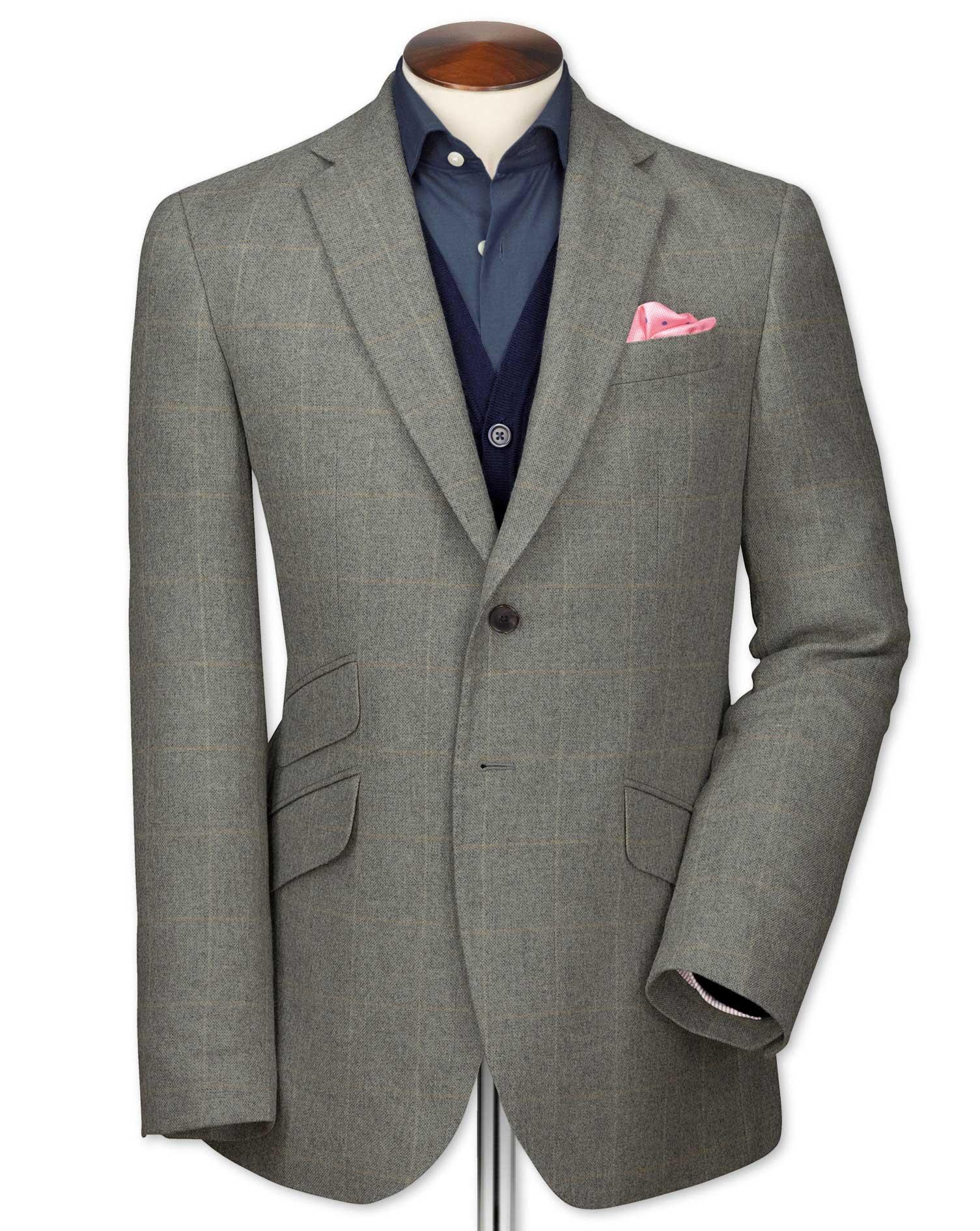 Slim Fit Grey Checkered Luxury Border Tweed Wool Jacket Size 38 Long by Charles Tyrwhitt
