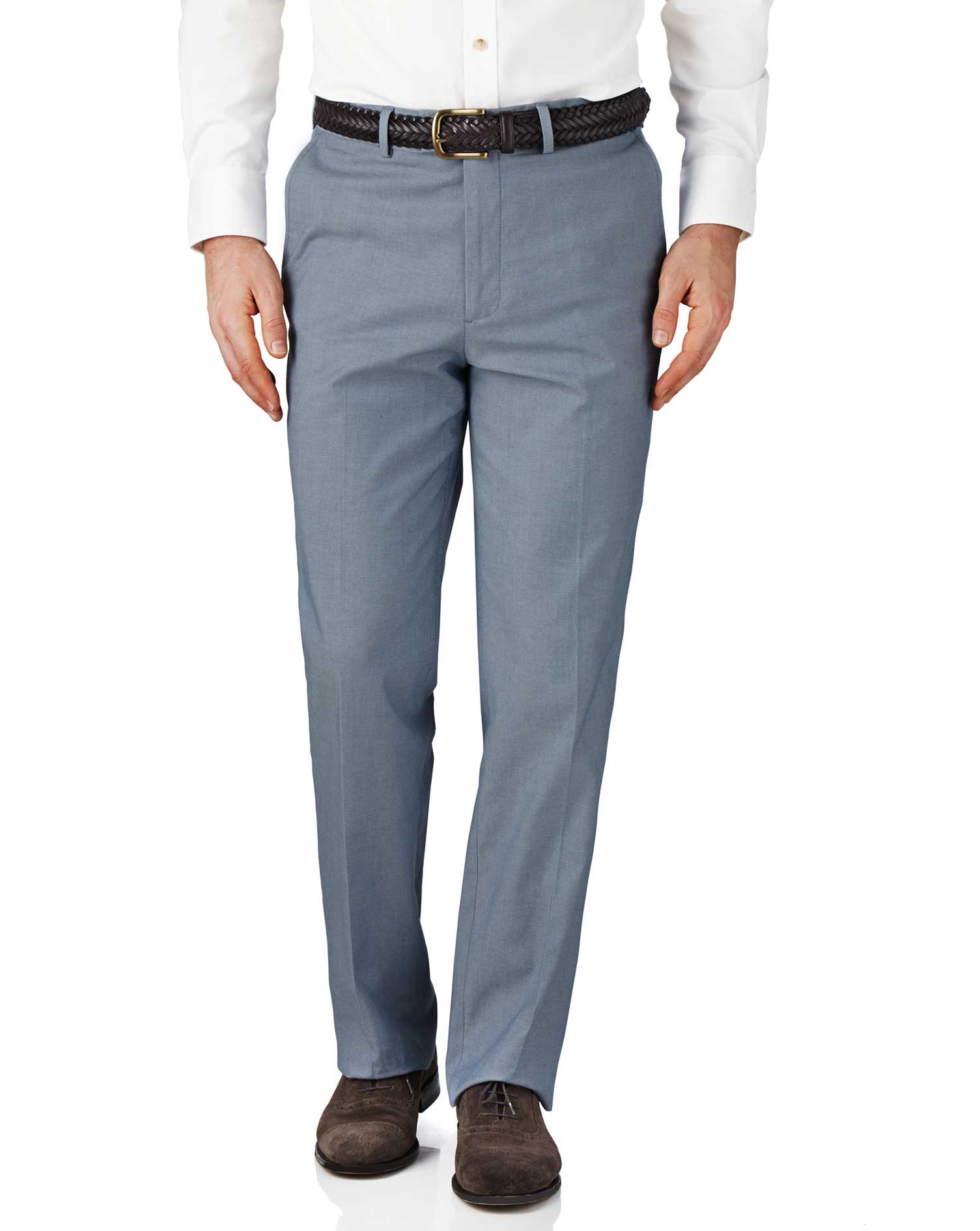 Blue Chambray Classic Fit Stretch Cavalry Twill Trousers Size W36 L34 by Charles Tyrwhitt
