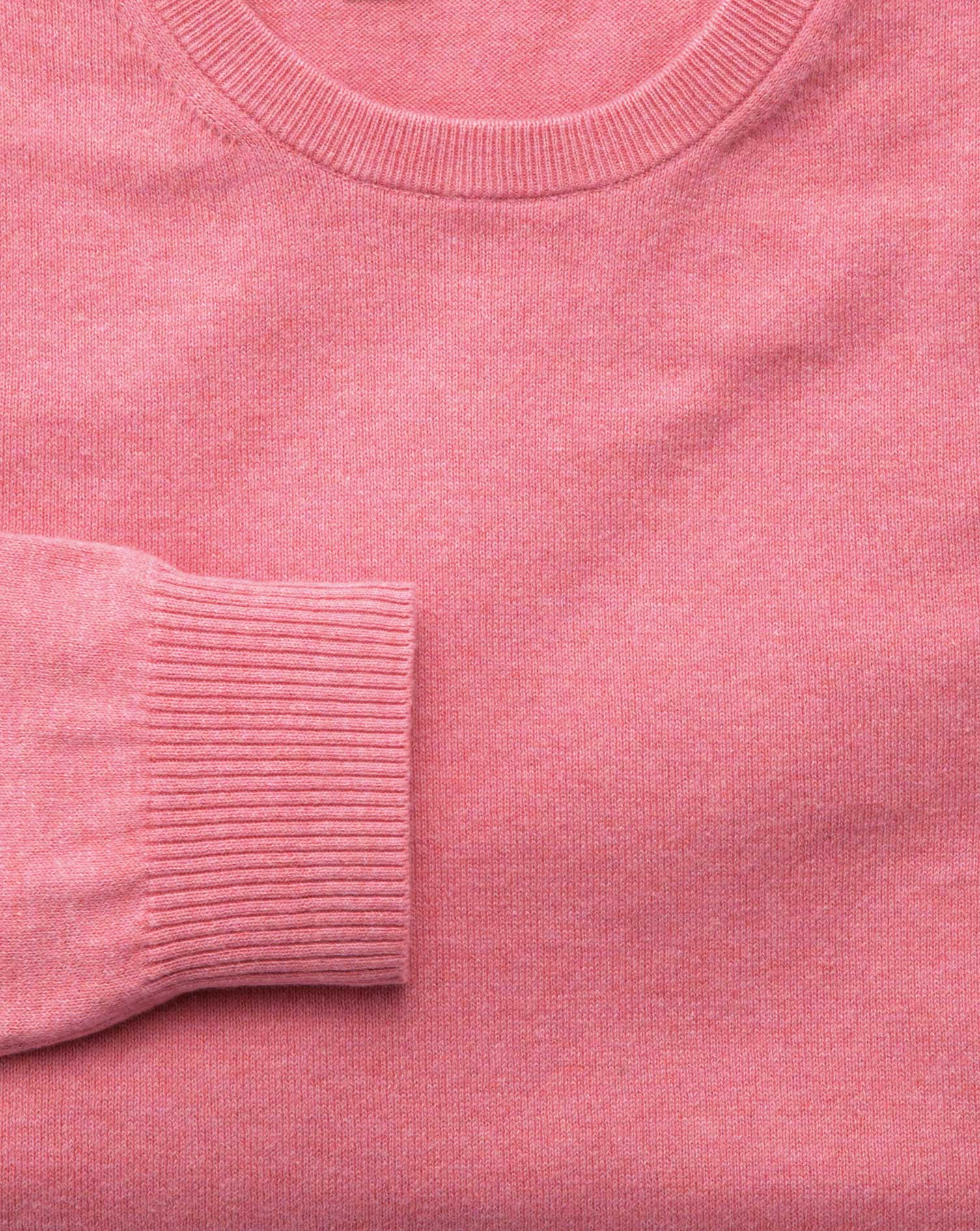 Pink cotton cashmere crew neck sweater | Charles Tyrwhitt