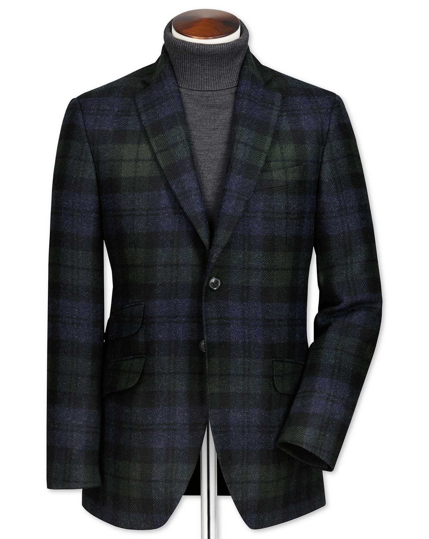 Slim Fit Green and Navy Checkered Wool Wool Jacket Size 42 Short by Charles Tyrwhitt