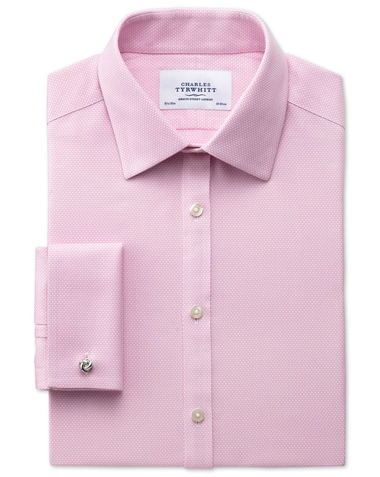 Classic Fit Non-Iron Honeycomb Pink Cotton Formal Shirt Single Cuff Size 16/38 by Charles Tyrwhitt