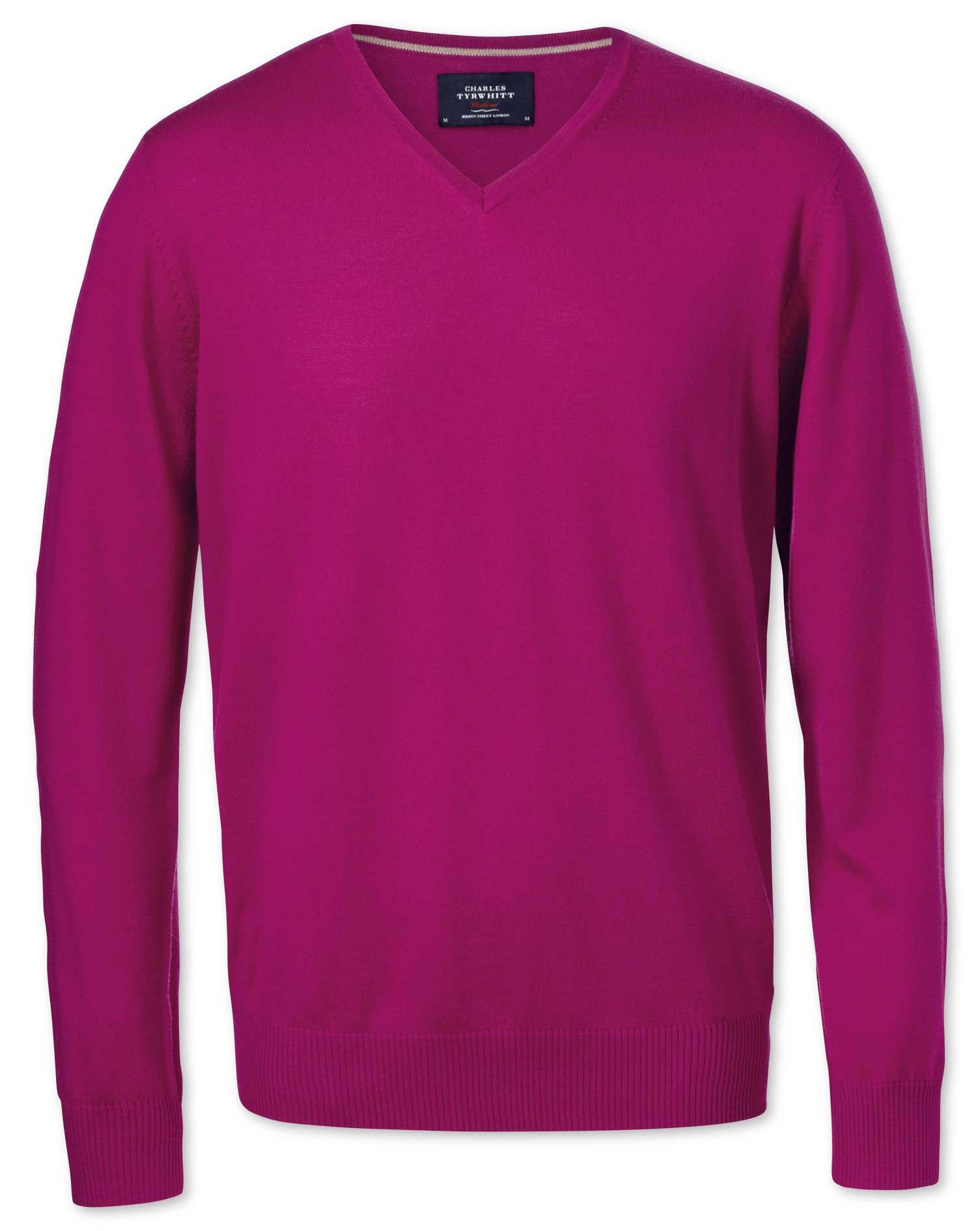 Fuchsia Merino Wool V-Neck Jumper Size XXXL by Charles Tyrwhitt