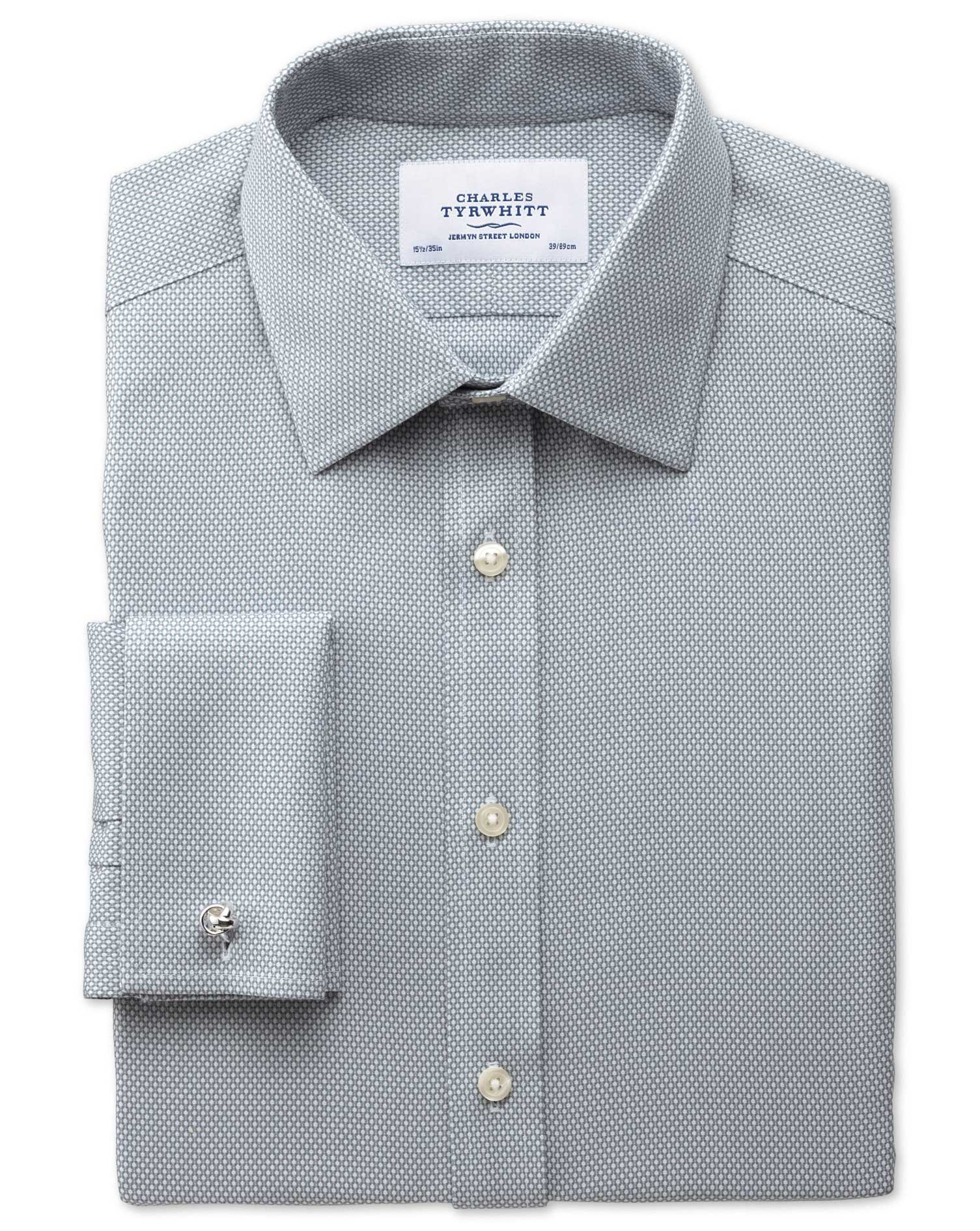 Classic Fit Non-Iron Honeycomb Grey Cotton Formal Shirt Double Cuff Size 16/38 by Charles Tyrwhitt