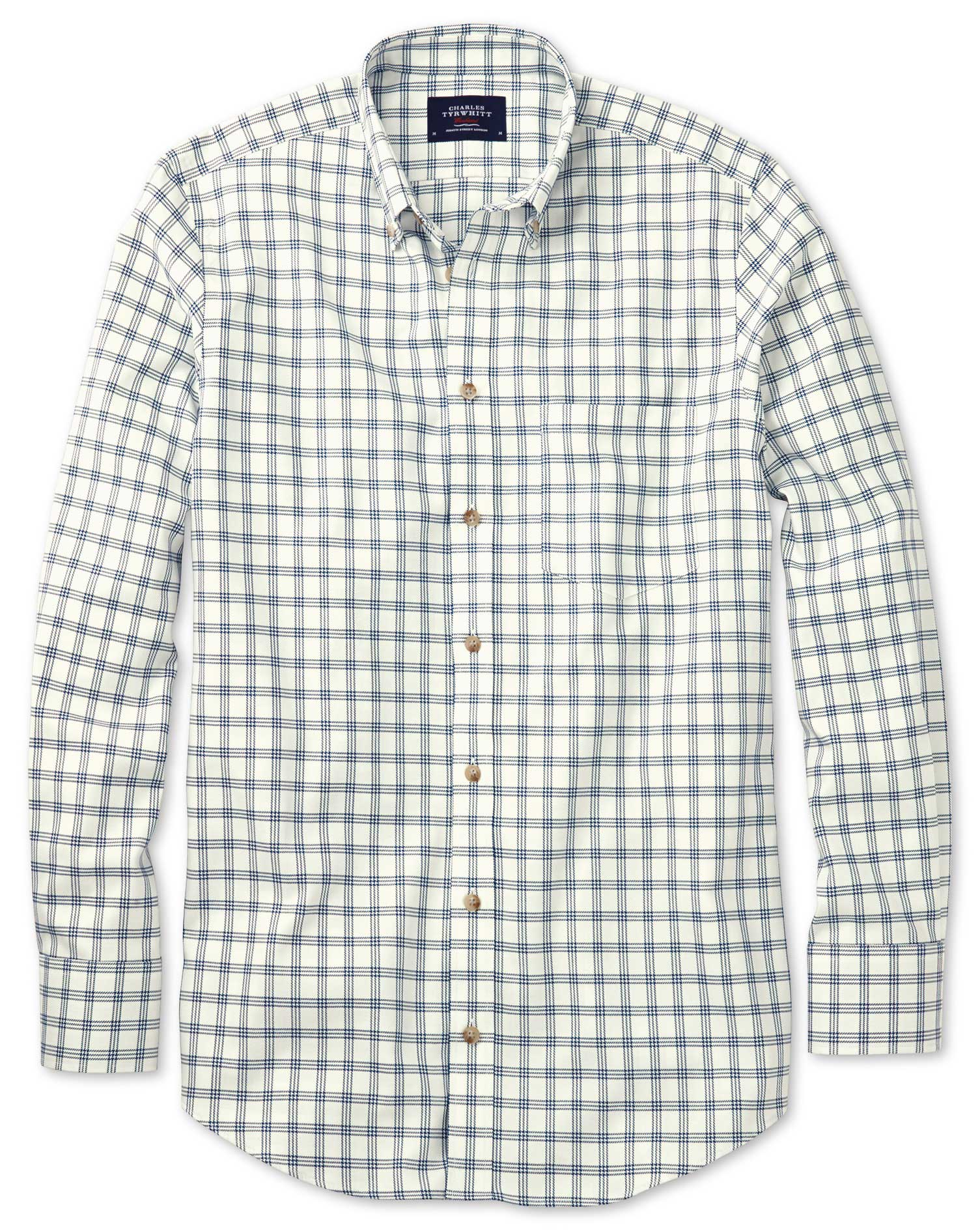 Slim Fit Non-Iron Windowpane Check White and Navy Cotton Shirt Single Cuff Size Medium by Charles Ty