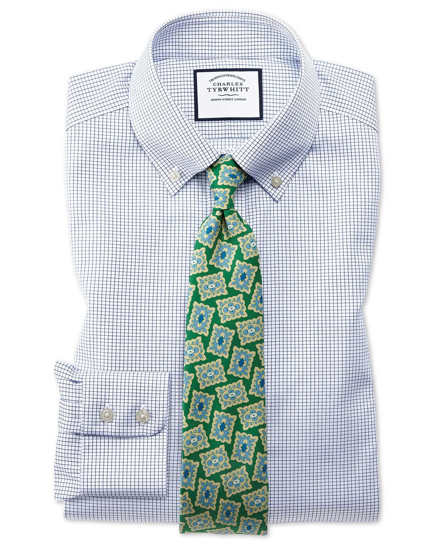 Classic Fit Button-Down Non-Iron Twill Mini Grid Check Navy Blue Cotton Formal Shirt Single Cuff Siz