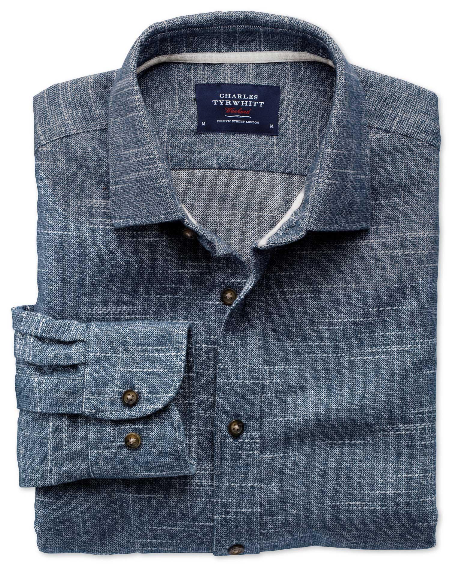 Slim Fit Slub Cotton Blue and White Shirt Single Cuff Size XS by Charles Tyrwhitt