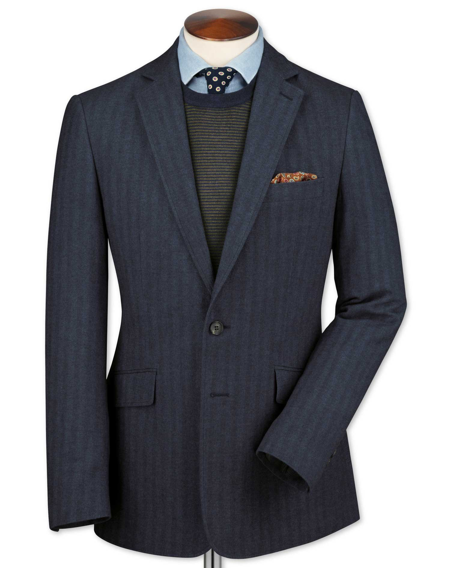 Slim Fit Airforce Blue Herringbone Cotton Flannel Cotton Jacket Size 36 Regular by Charles Tyrwhitt