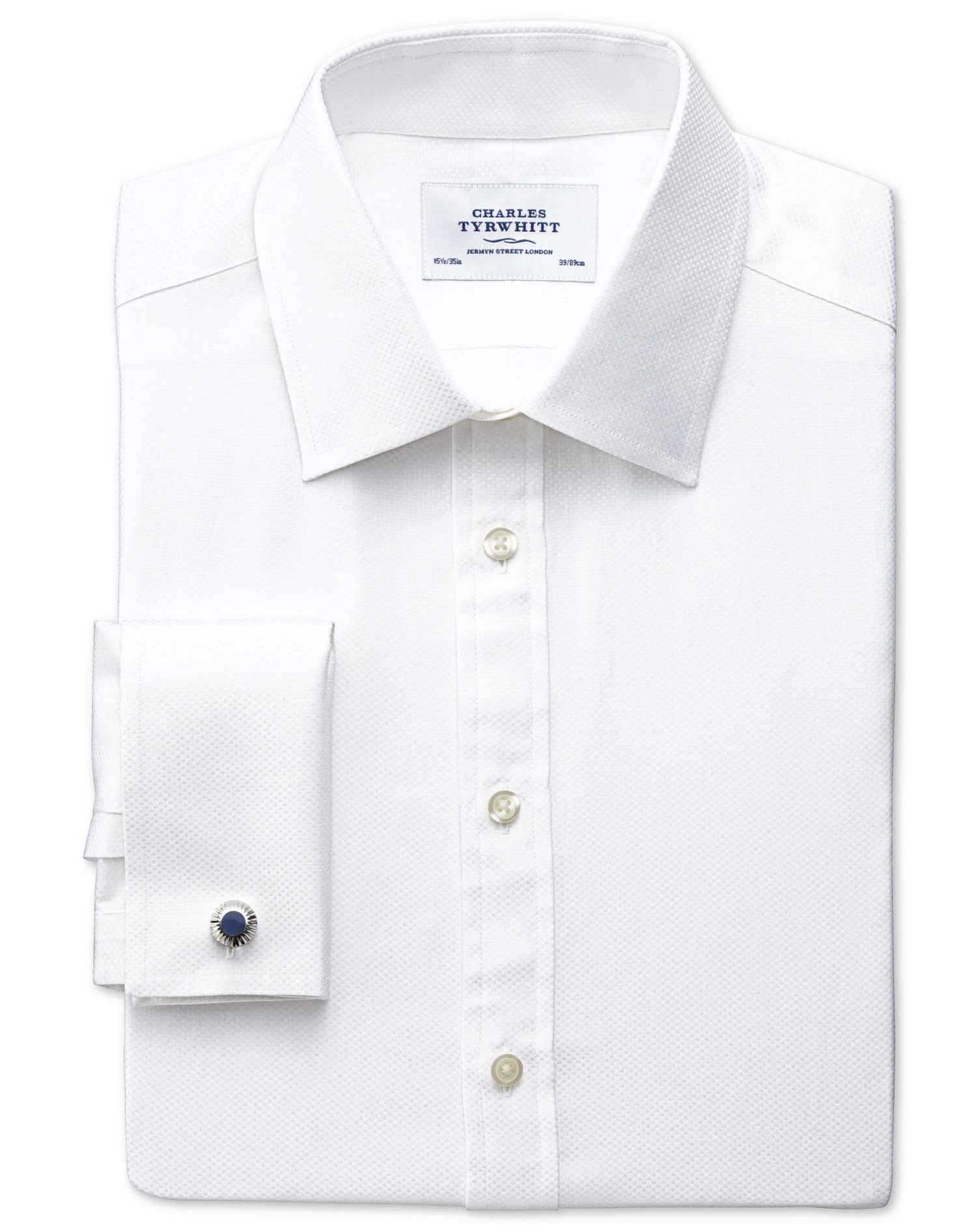 Classic Fit Pima Cotton Double-Faced White Formal Shirt Double Cuff Size 15/35 by Charles Tyrwhitt
