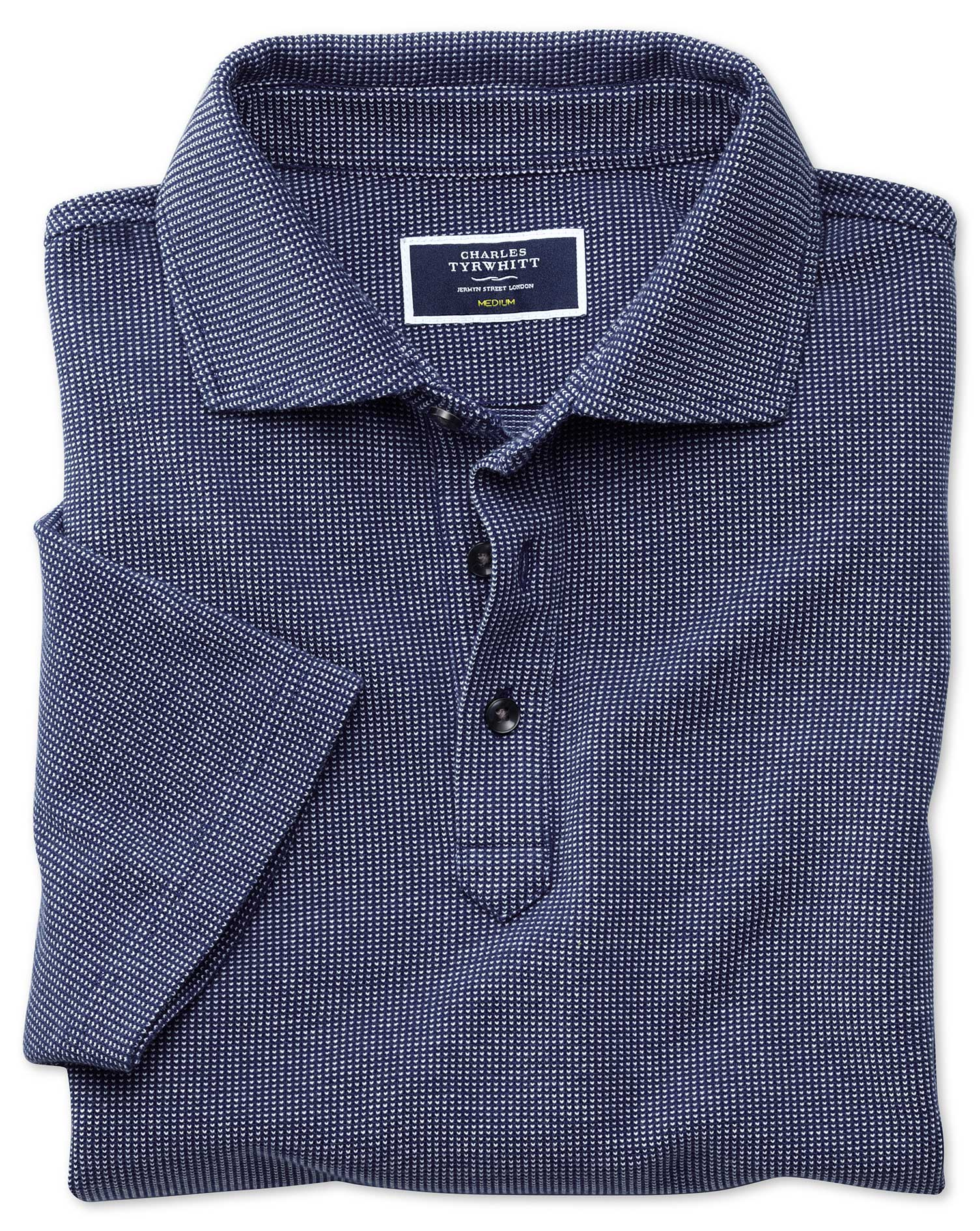 Blue and White Birdseye Cotton Polo Size Small by Charles Tyrwhitt