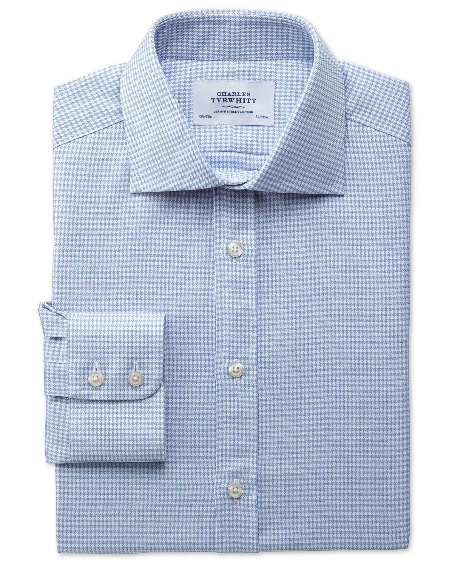 Slim Fit Semi-Cutaway Collar Melange Puppytooth Sky Blue Cotton Formal Shirt Single Cuff Size 17.5/3