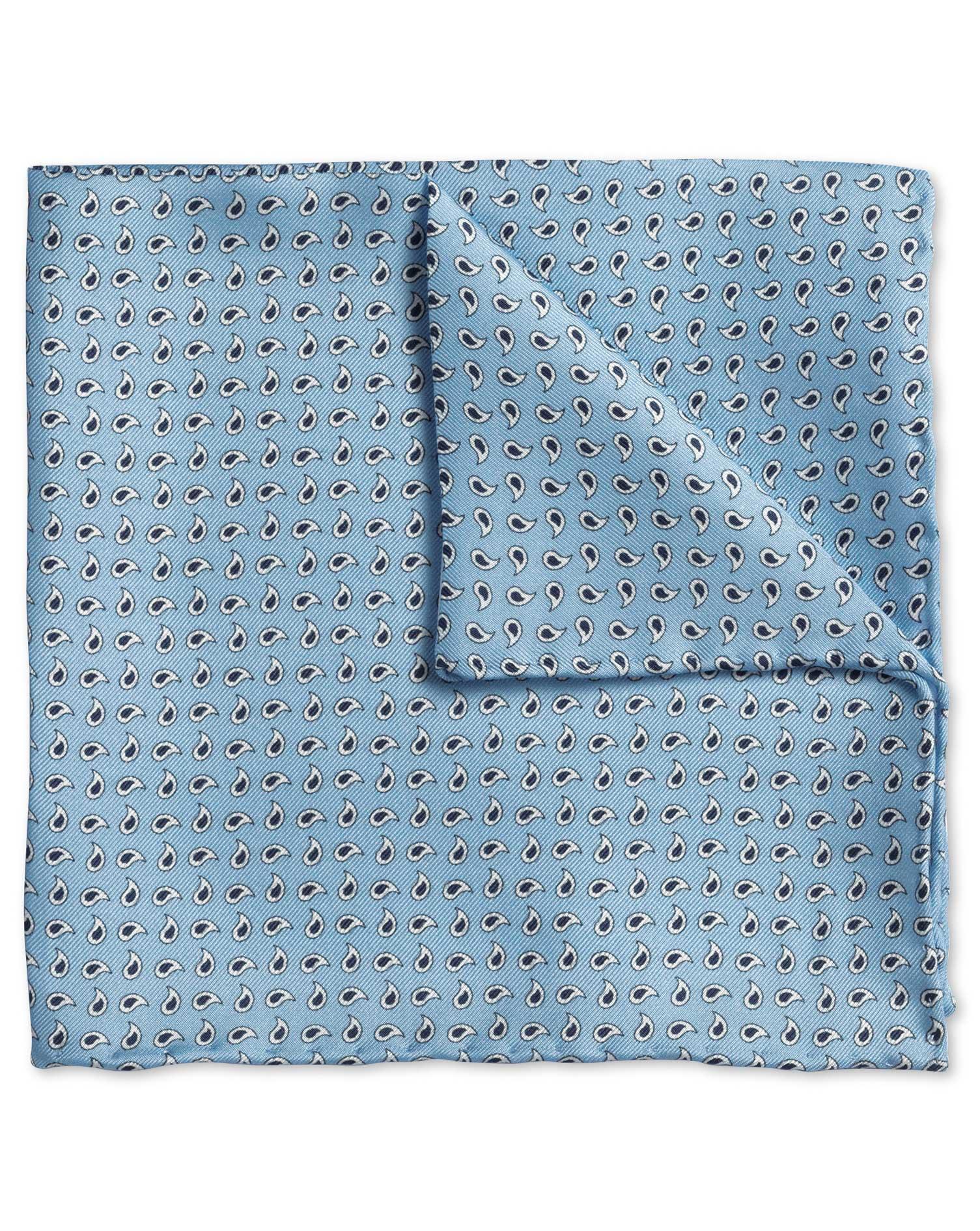 Sky Paisley Classic Silk Pocket Square Size OSFA by Charles Tyrwhitt