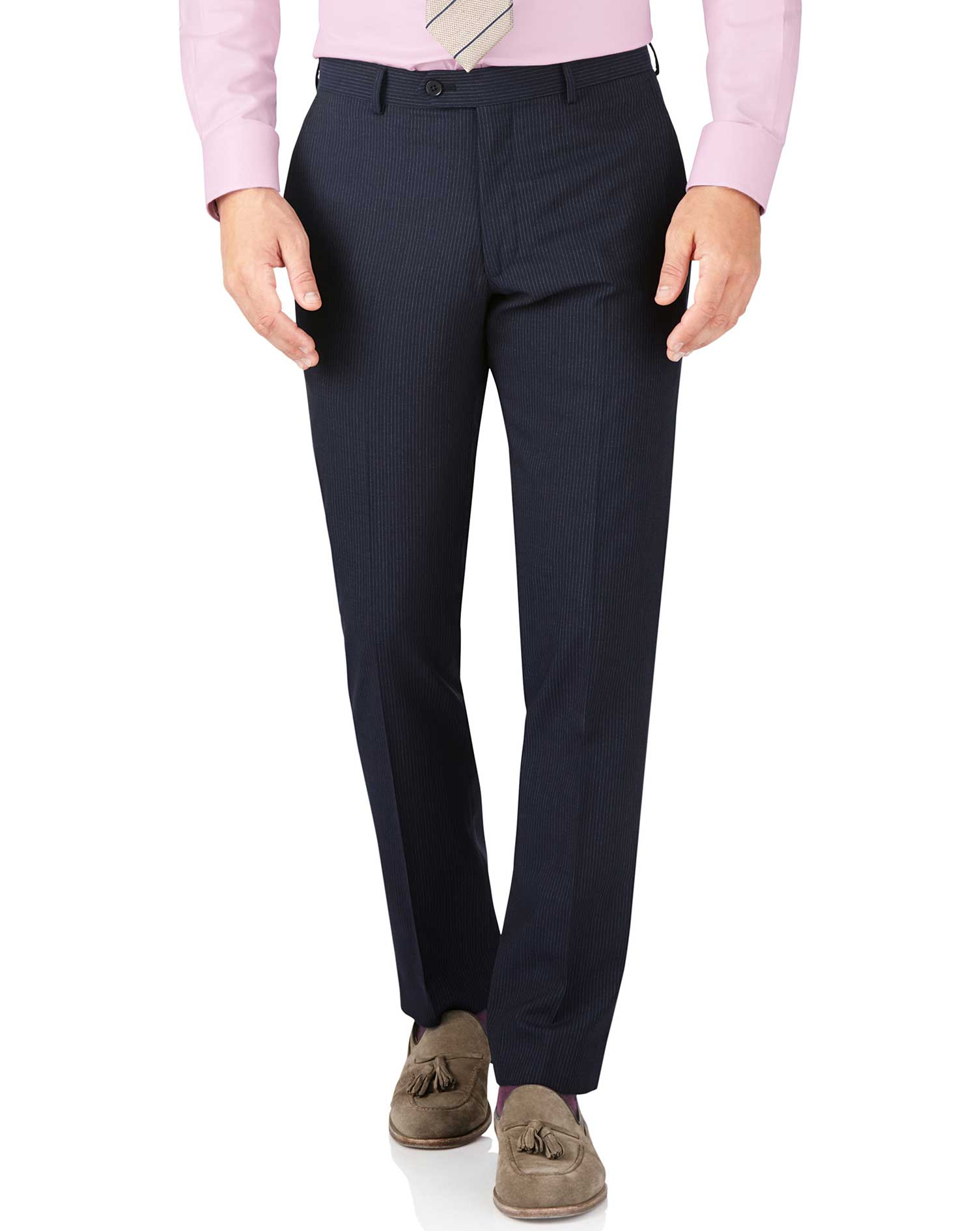 Navy Stripe Slim Fit Crepe Business Suit Trouser Size W42 L38 by Charles Tyrwhitt
