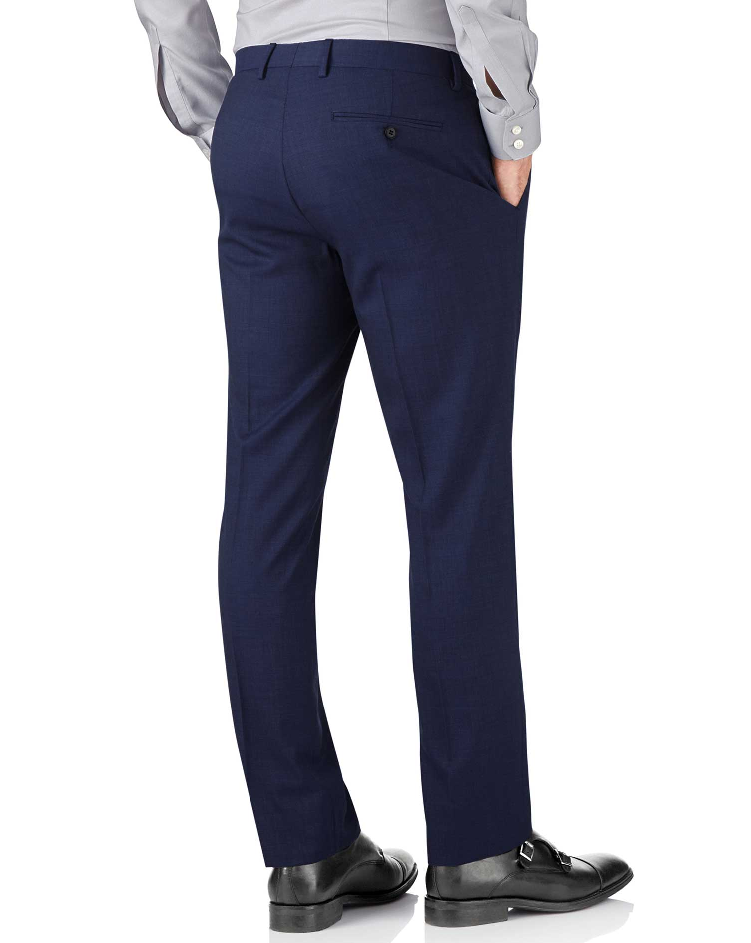 Indigo slim fit end-on-end business suit pants