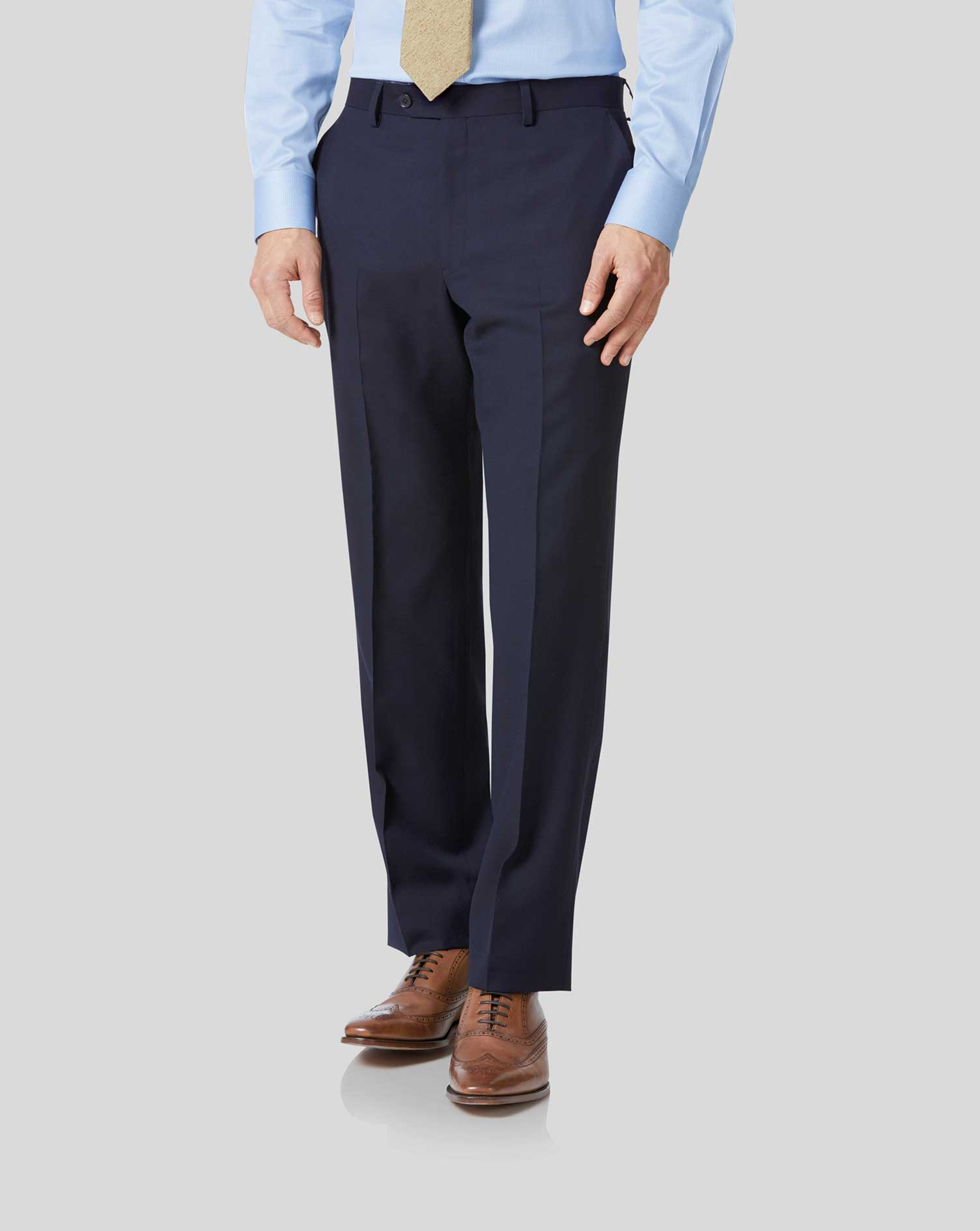 Pantalon de costume business bleu marine coupe droite en twill