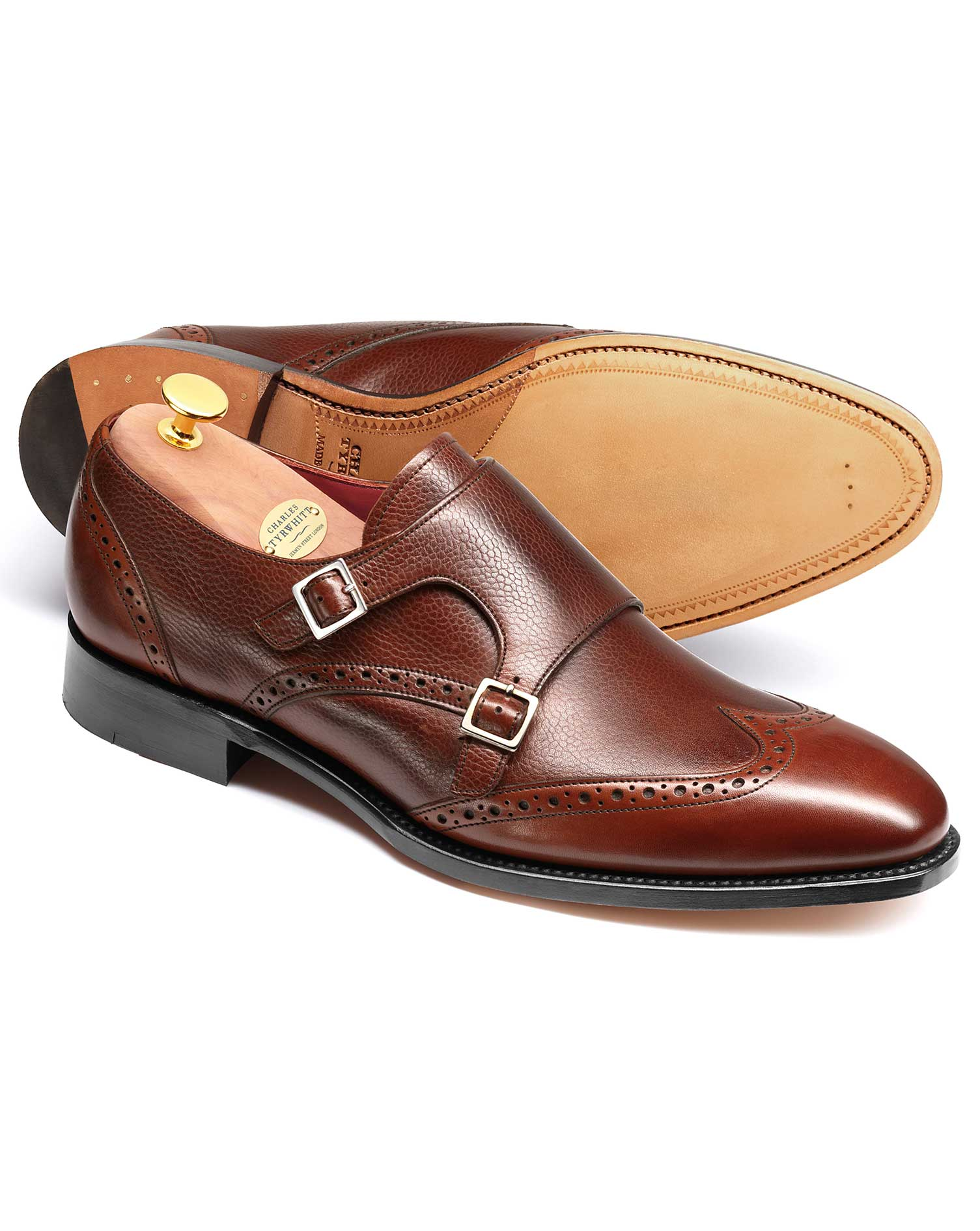 Brown Edmonton Calf Leather Toe Cap Brogue Monk Shoes Size 13 R by Charles Tyrwhitt