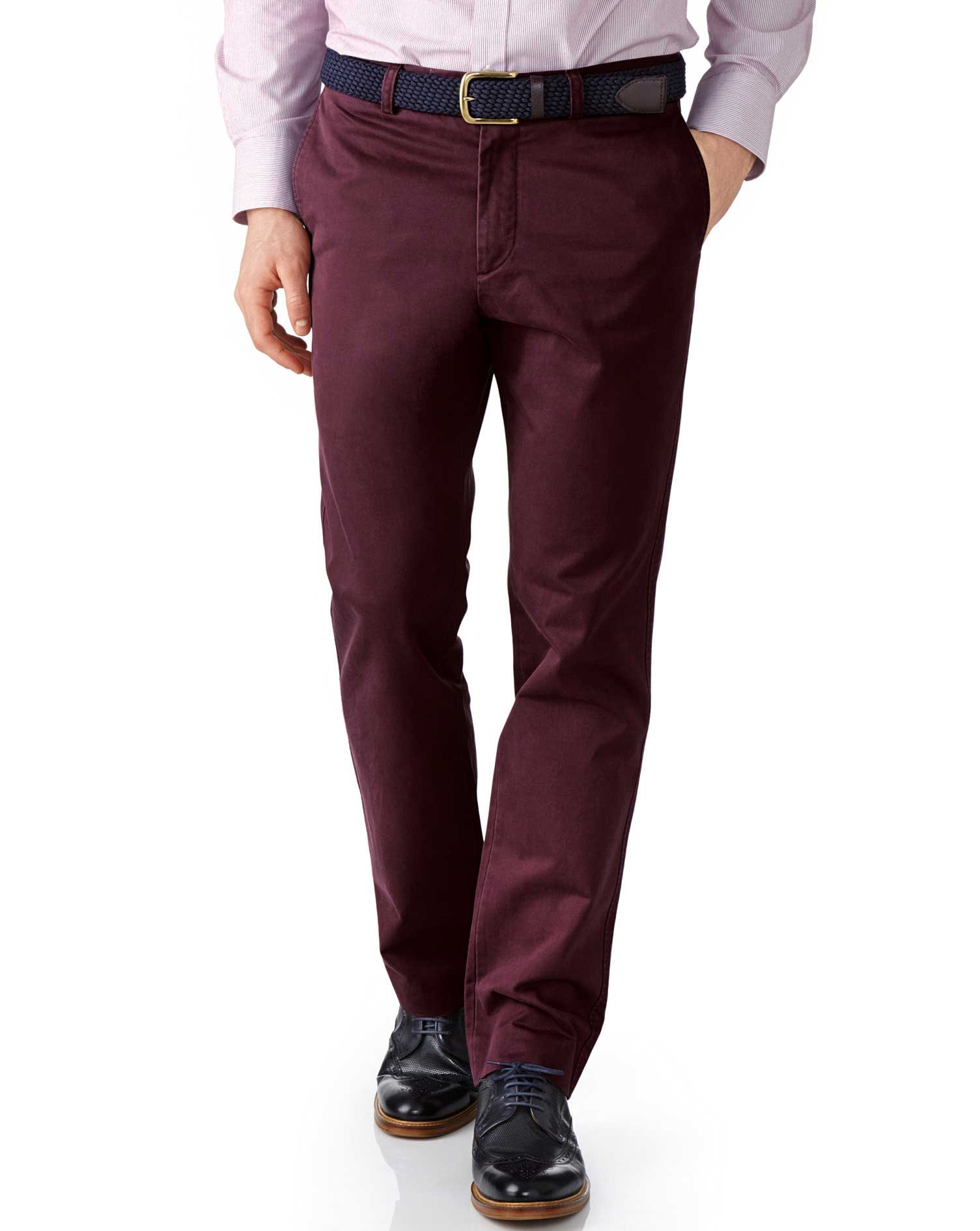 Wine Slim Fit Flat Front Cotton Chino Trousers Size W42 L29 by Charles Tyrwhitt
