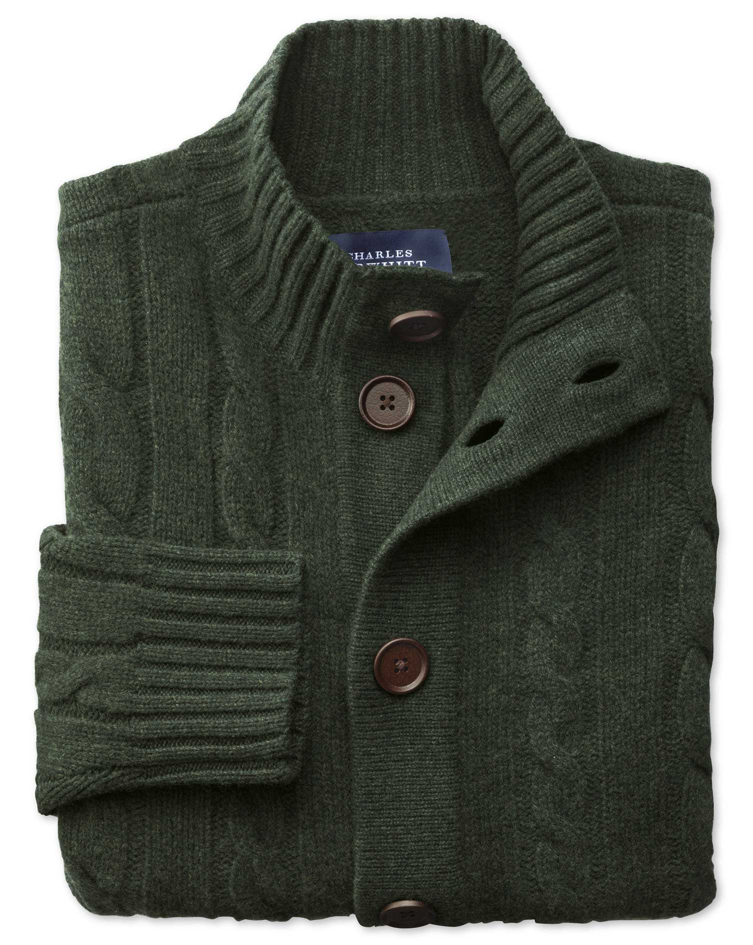 Dark Green Lambswool Cable Cardigan Size XL by Charles Tyrwhitt
